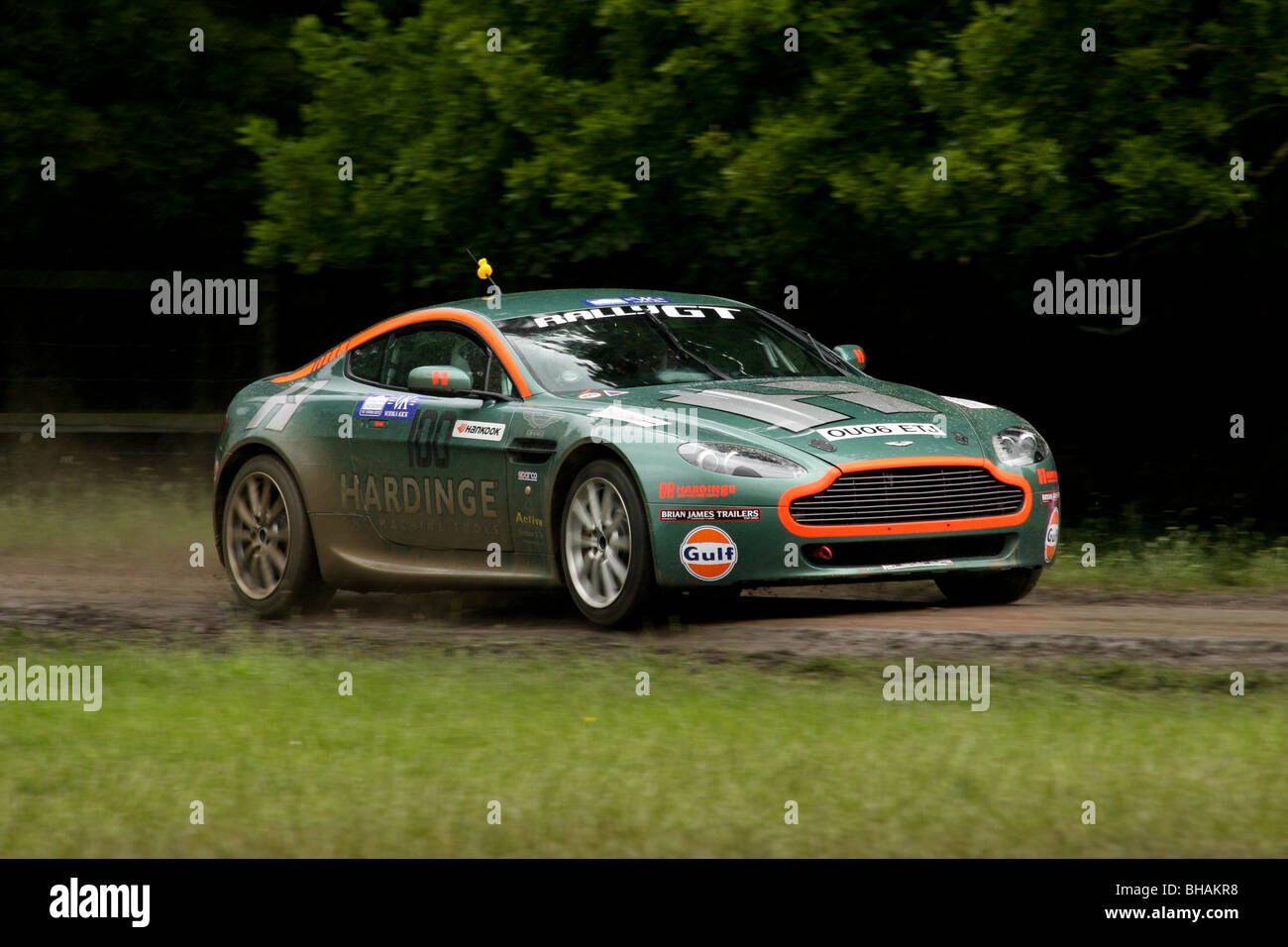 Aston Martin V8 rallying at Chatsworth special stage - Stock Image
