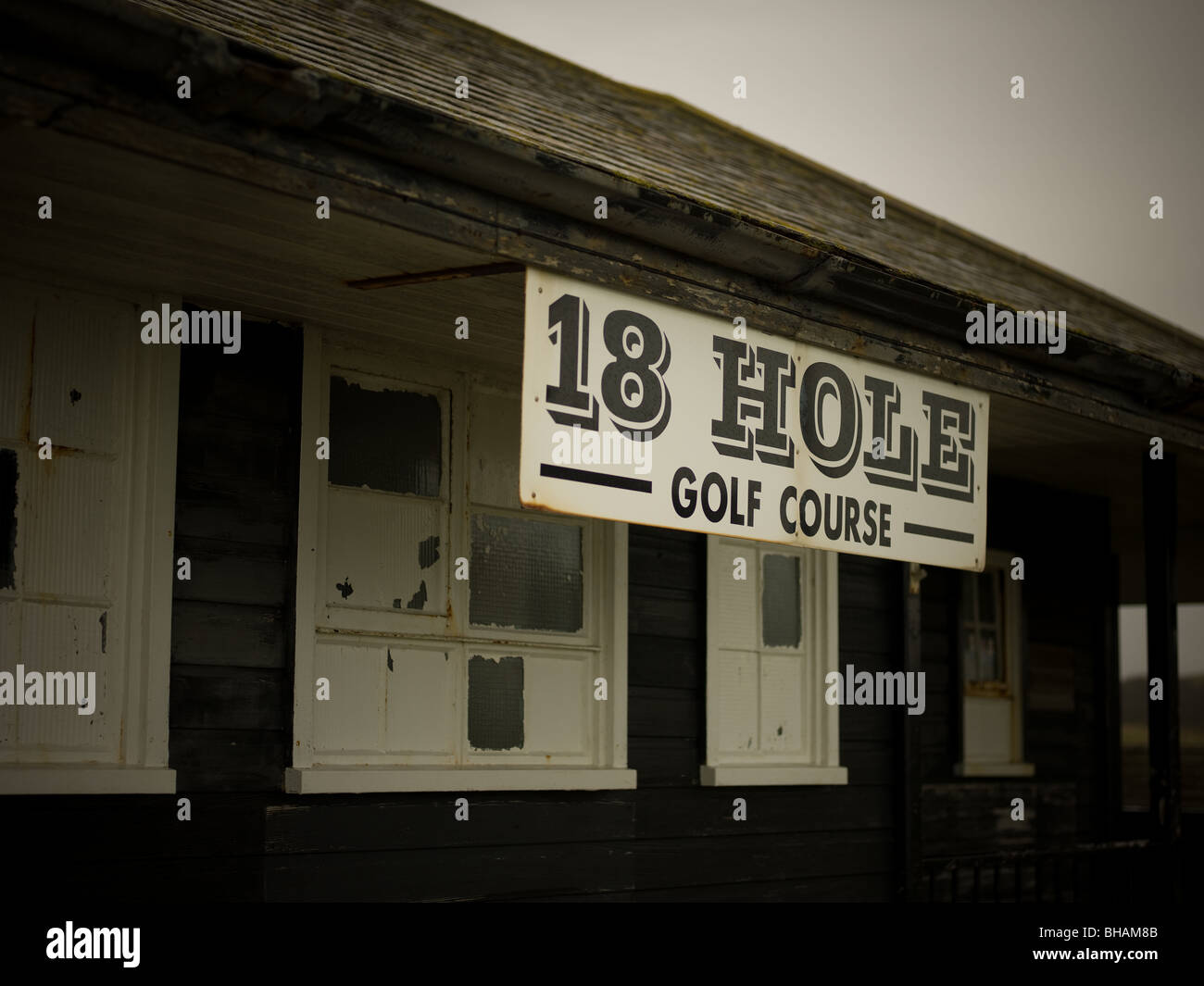golf course, club house on pitch & putt course. - Stock Image