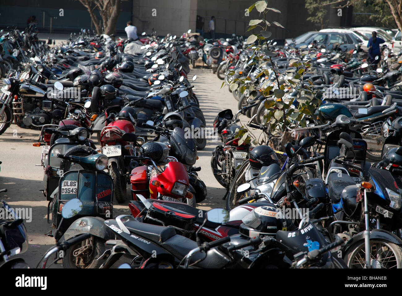 congested motorcycle parking motorbikes rows - Stock Image