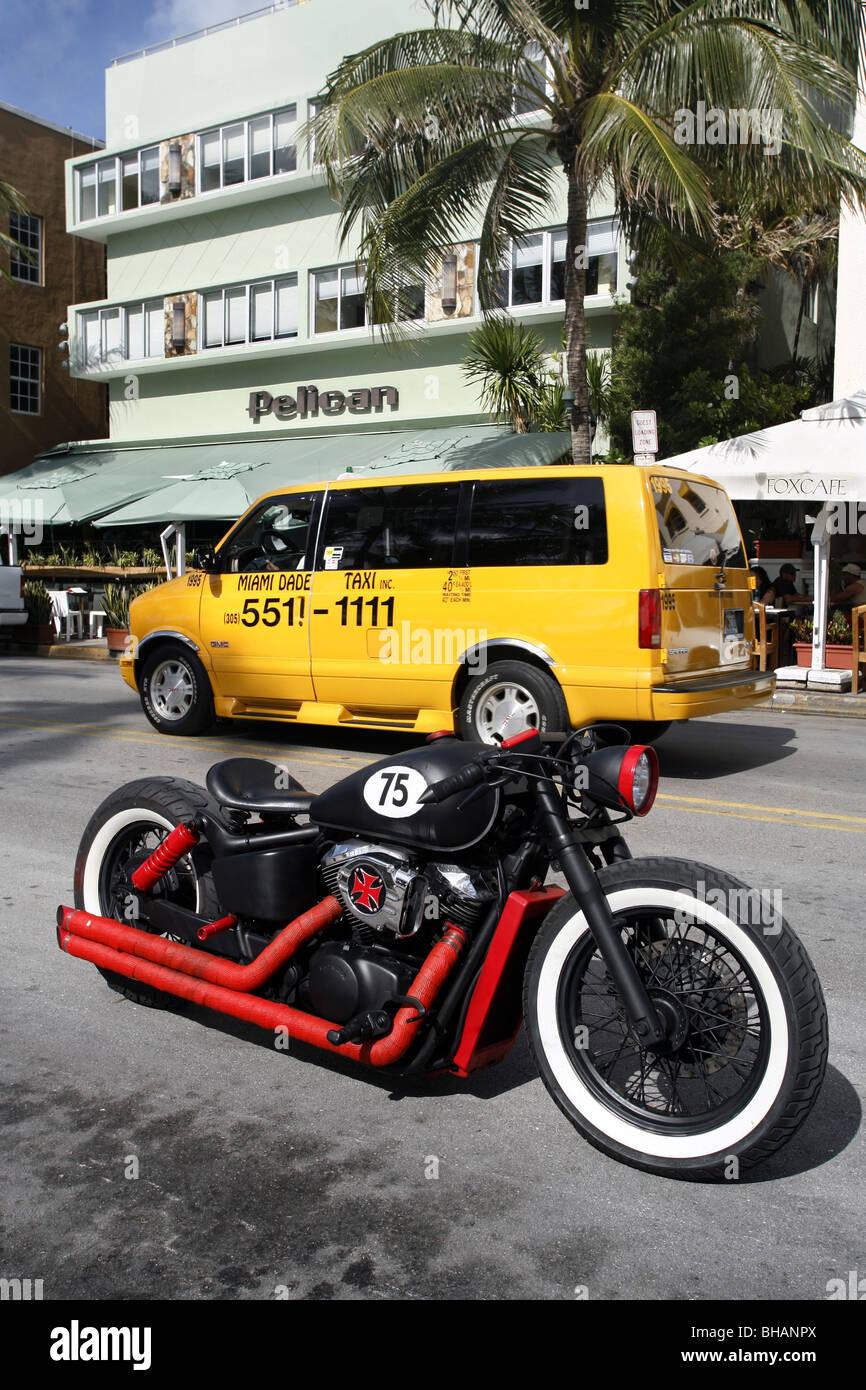 Chopper / Bobber, Ocean Drive, South Beach, Miami, Florida, USA - Stock Image