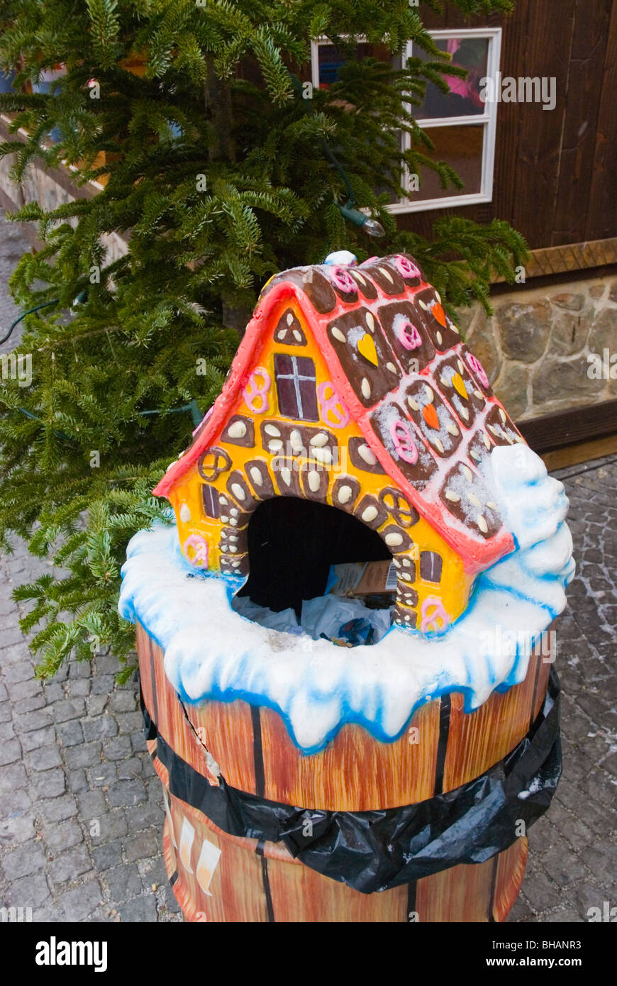 Christmas themed rubbish bin Residenz Christmas market Munich Bavaria Germany Europe - Stock Image