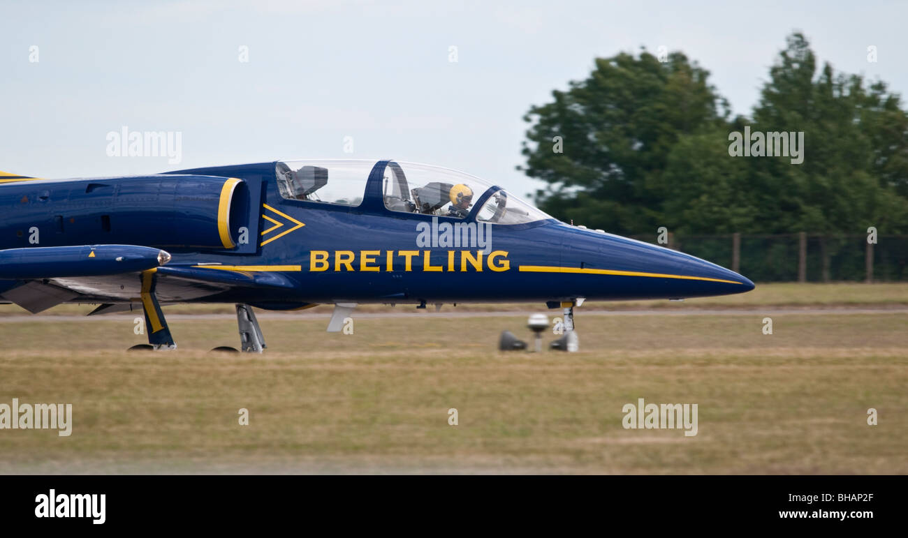 Breitling Jet ready for takeoff before aerobatic display. - Stock Image