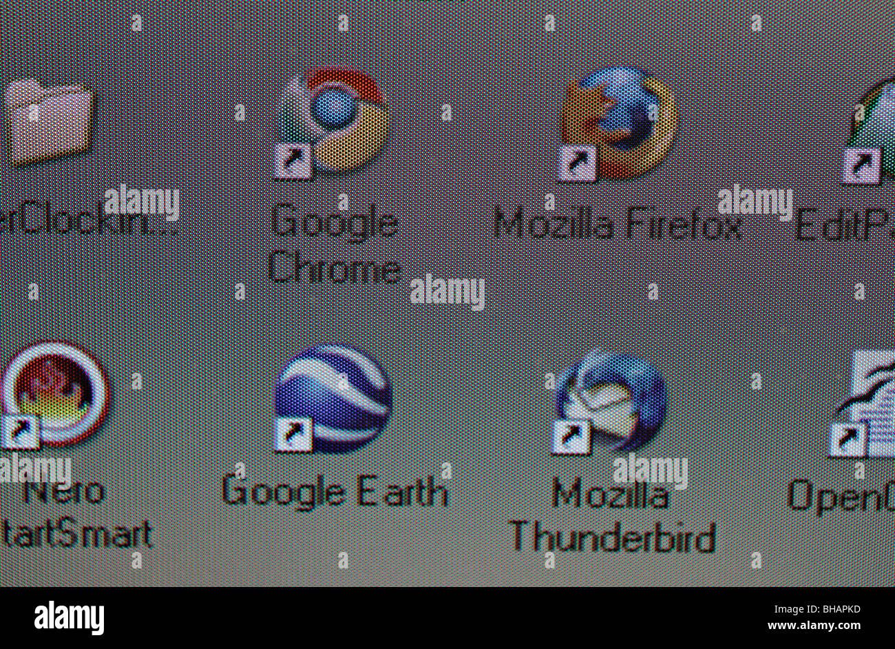 Computer Desktop icons Google Chrome, Mozilla Thunderbird, Google Earth, Mozilla Firefox - screenshot - Stock Image