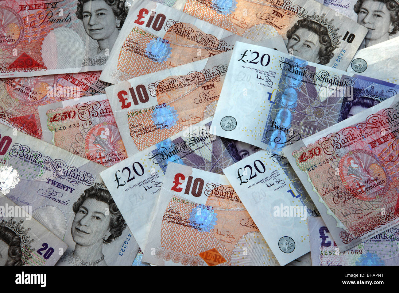 Background of British bank notes, fifty, twenty and ten pound ...