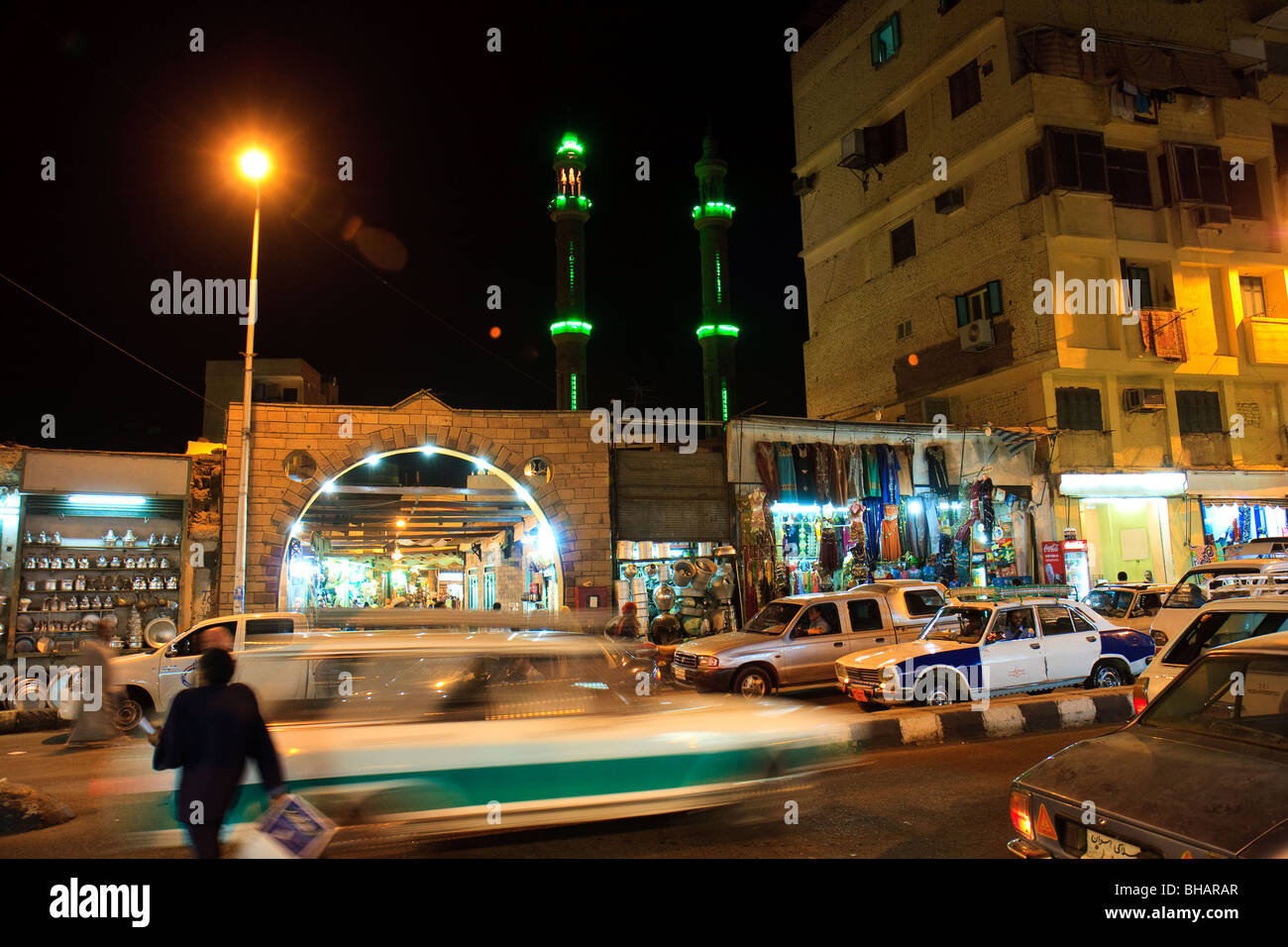 Africa Aswan Egypt Night Street Upper Egypt - Stock Image