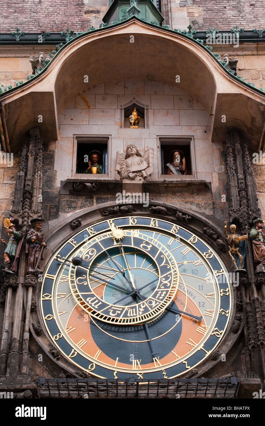 Old astronomical clock. Old town square, Prague, Czech Republic. - Stock Image