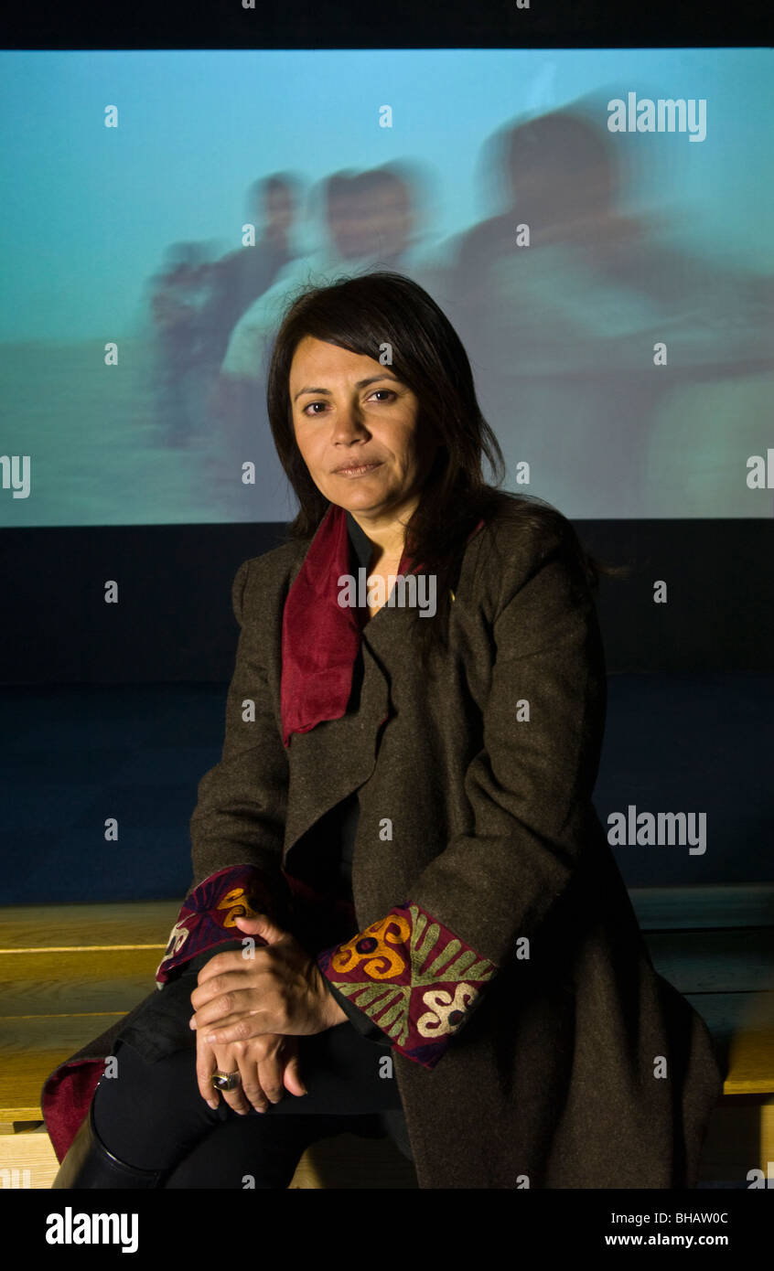 Afghan artist Lida Abdul with her video art on show at artes mundi 3 Wales International Visual Art Exhibition and - Stock Image