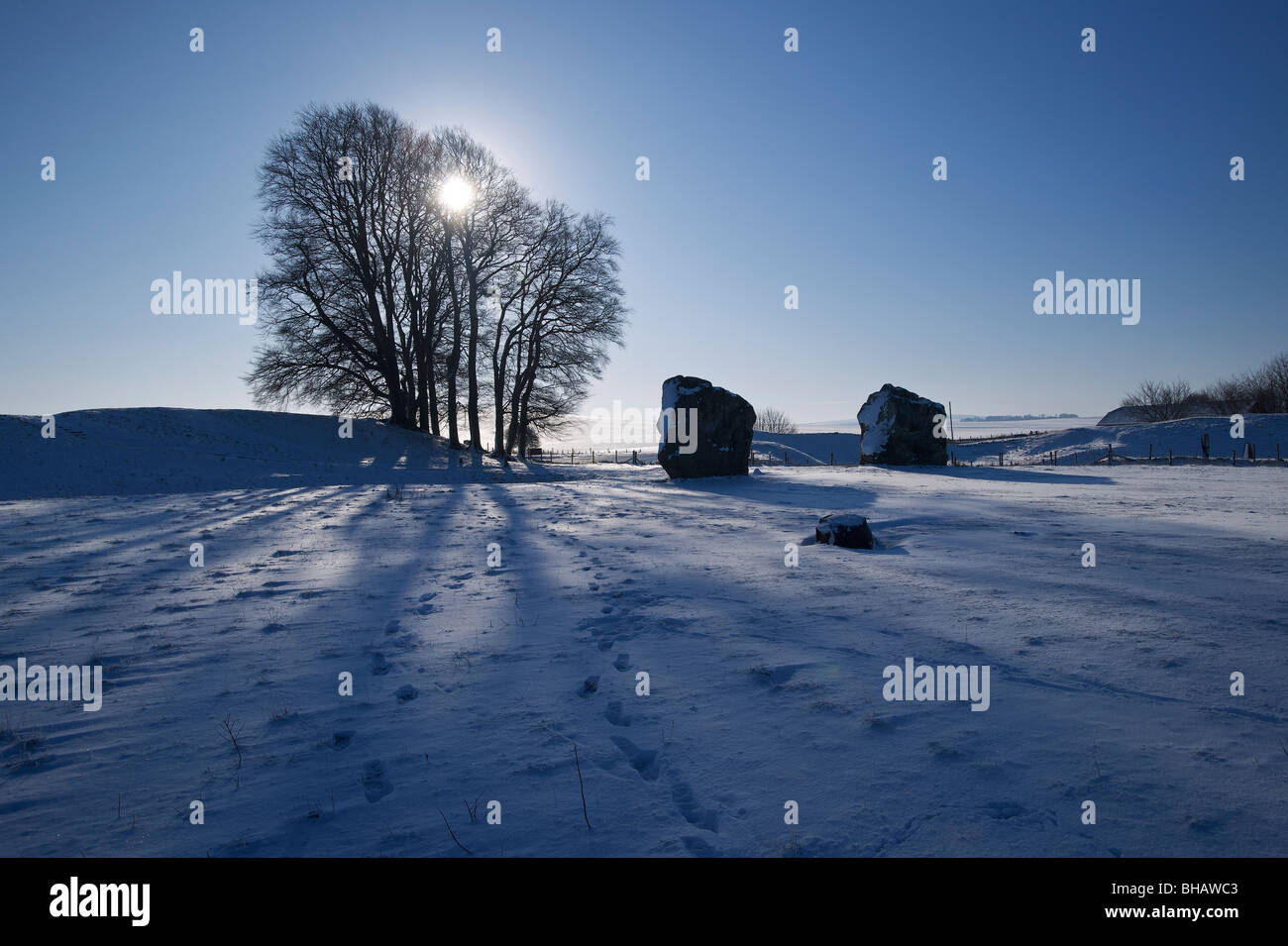 Averbury In the Snow - Stock Image