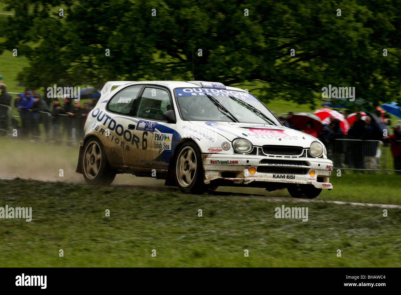 Noel Downey's Toyota Corolla rallying at Chatsworth special stage - Stock Image