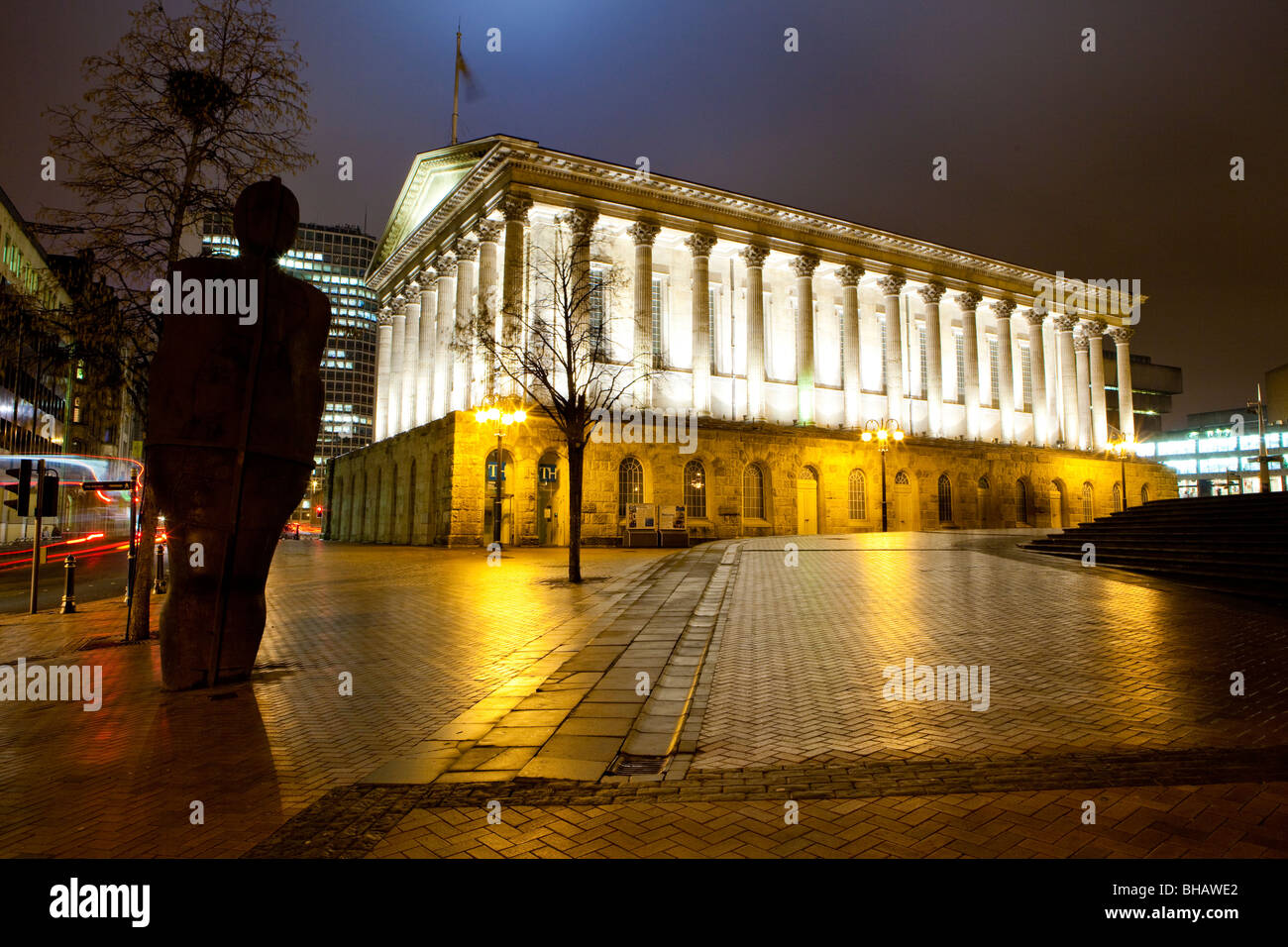 The Town Hall and Iron Man Statue in Birmingham City Centre, Victoria Square, Birmingham - Stock Image