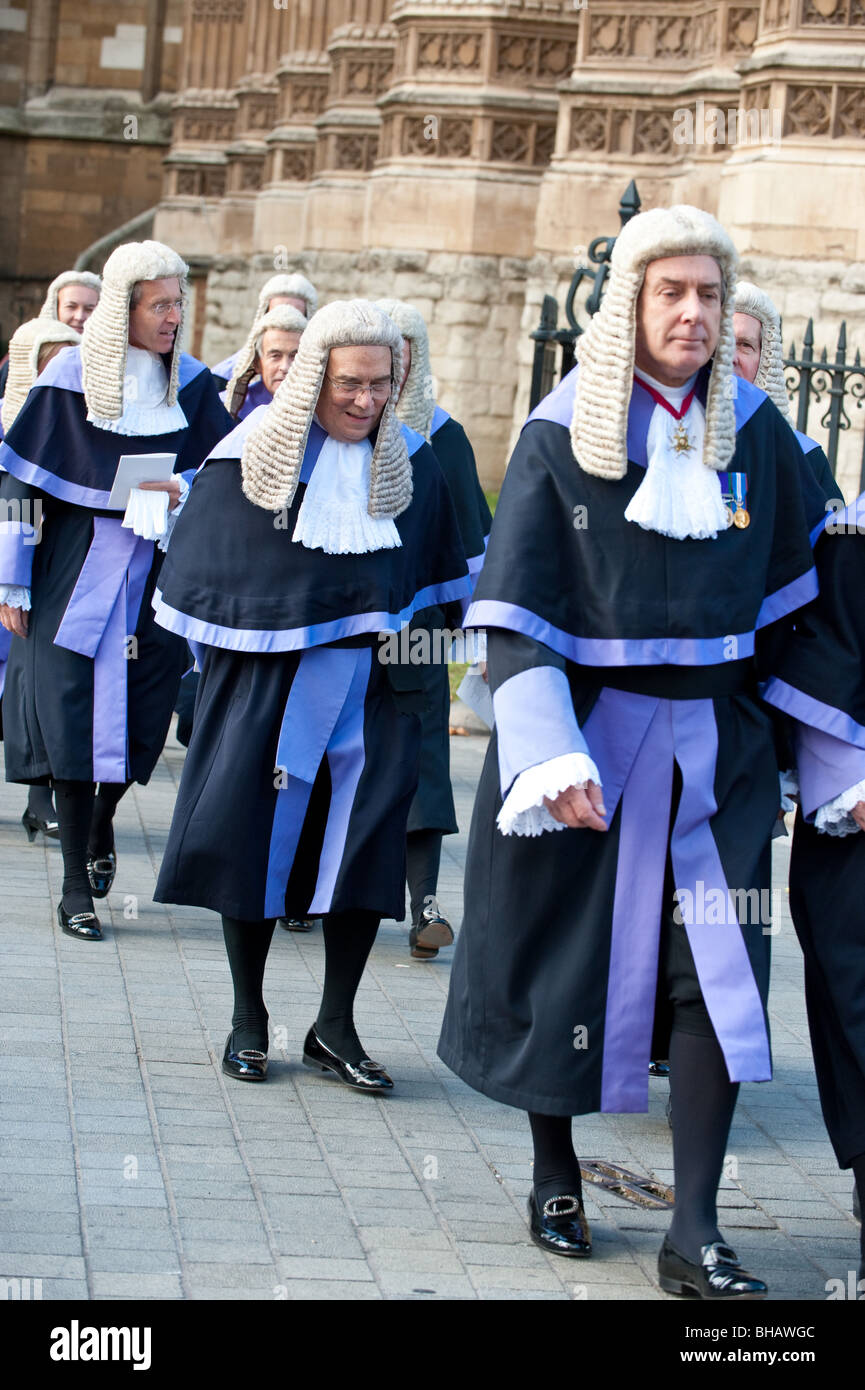 Fully robed Judges and QCs arrive at the Lord Chancellor's Breakfast at the start of the legal year  in London - Stock Image