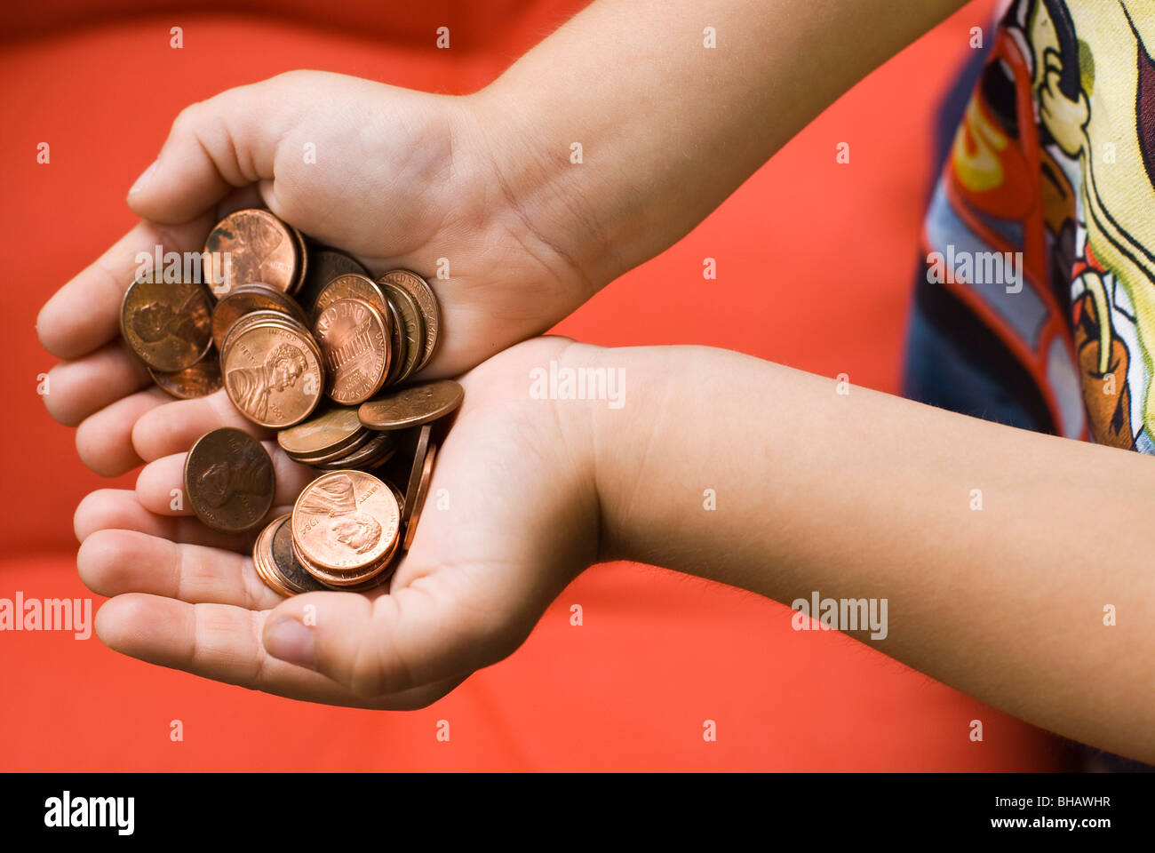 handful of coins - Stock Image