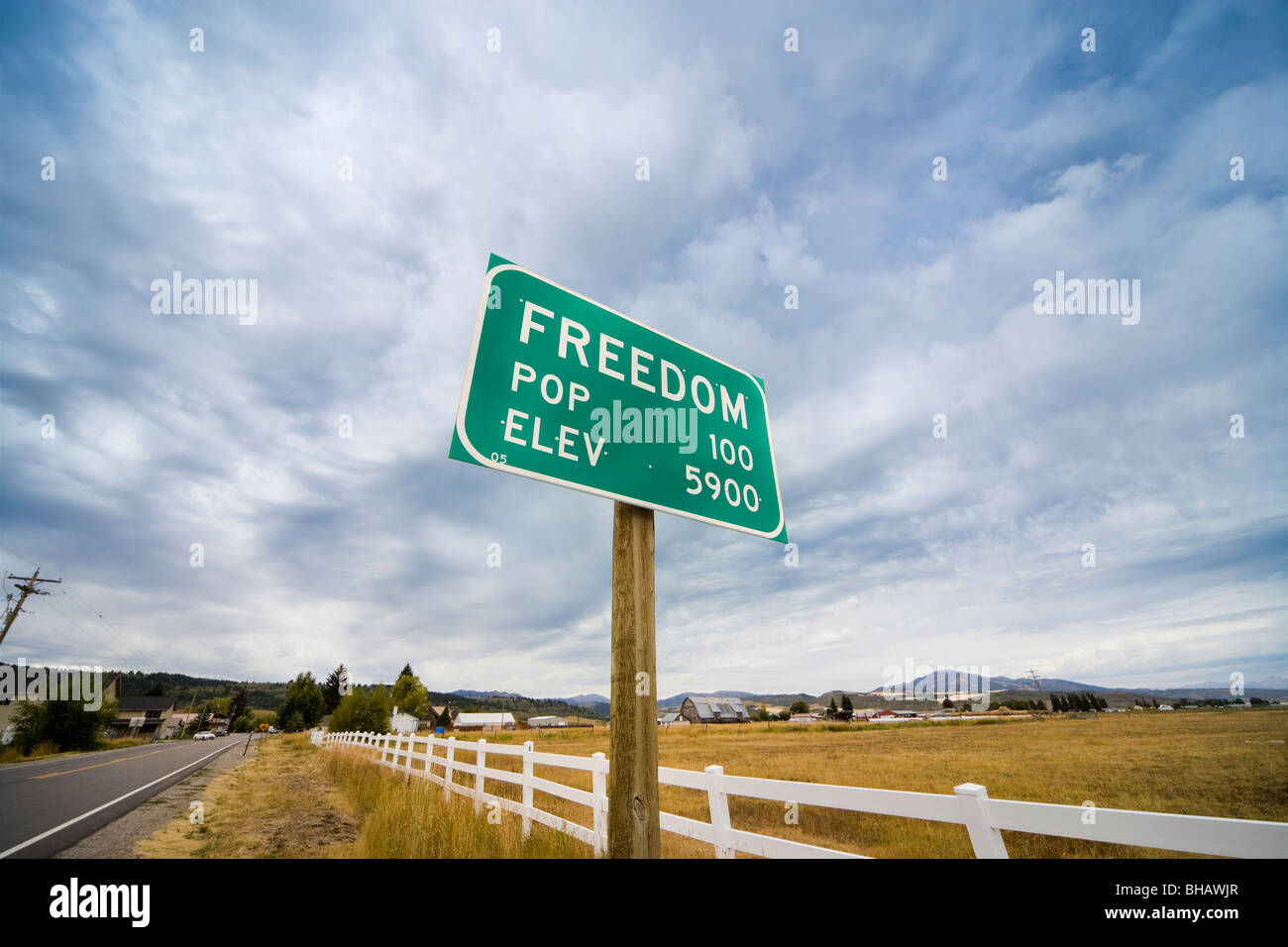 Town Sign Freedom Wyoming Idaho border town. Population 100. Elevation 5900 - Stock Image