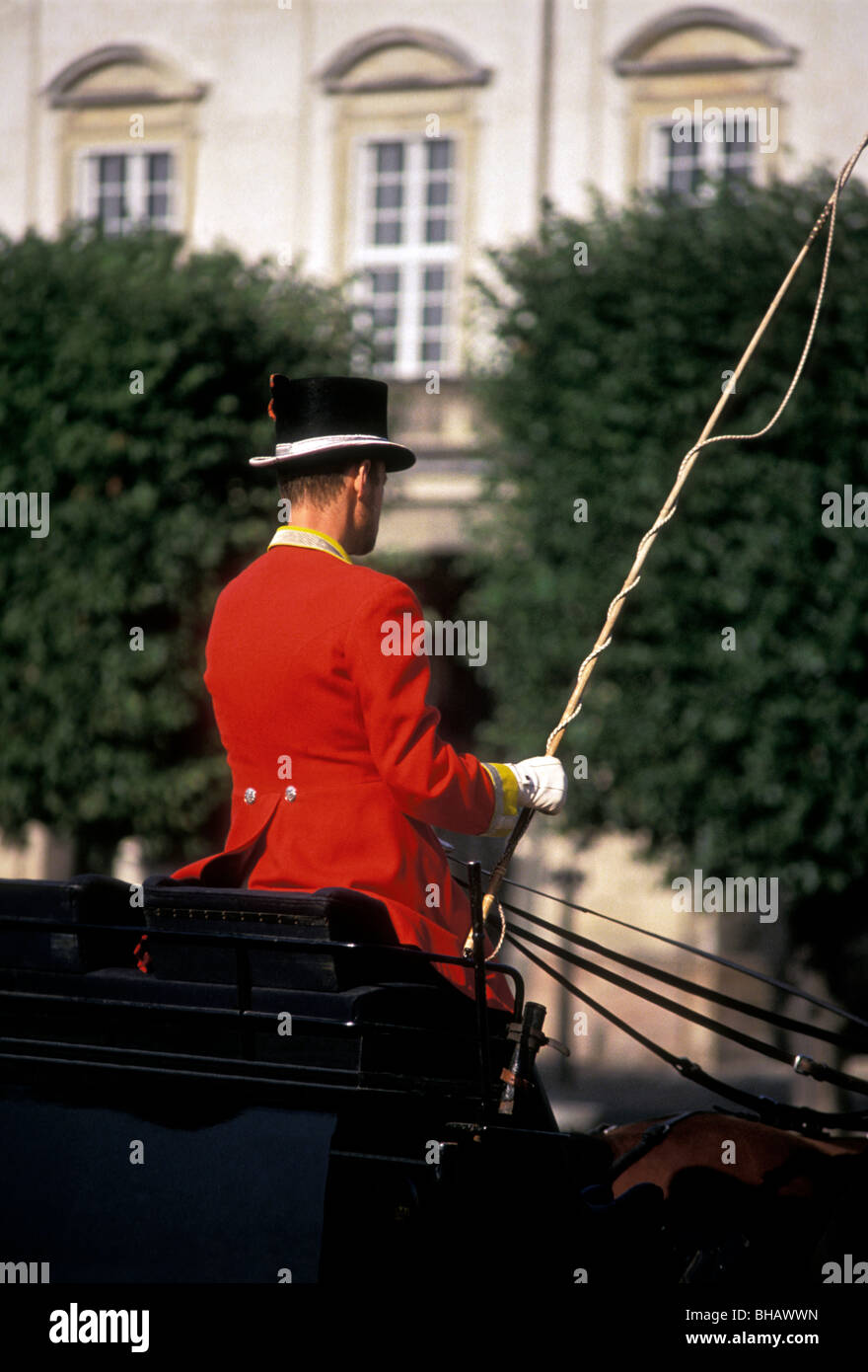 horse-carriage driver, Christiansborg Palace, Copenhagen, Denmark, Europe - Stock Image