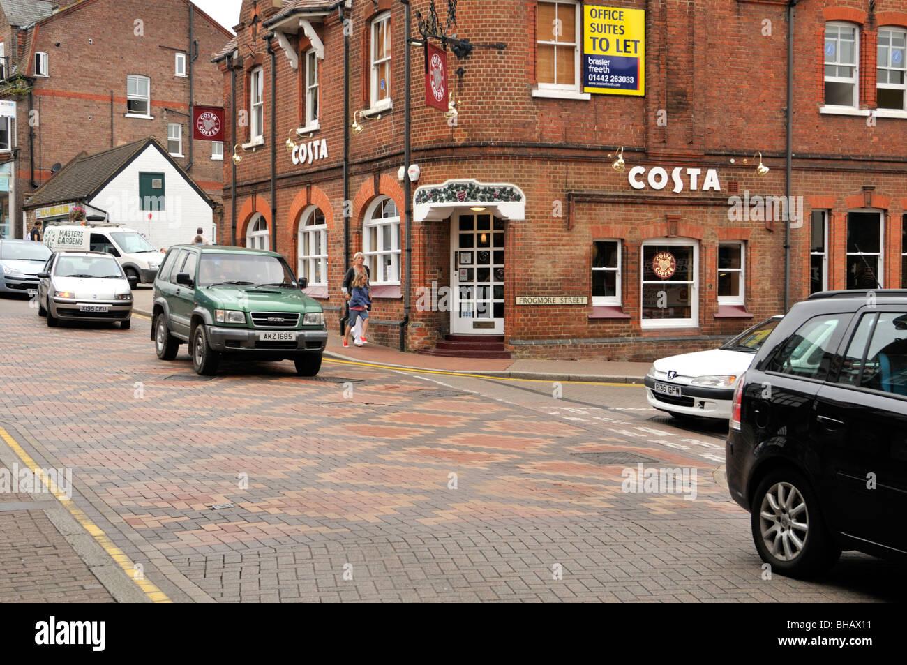 Ornately patterned road surfaces of Tring High Street, Hertfordshire, UK. - Stock Image