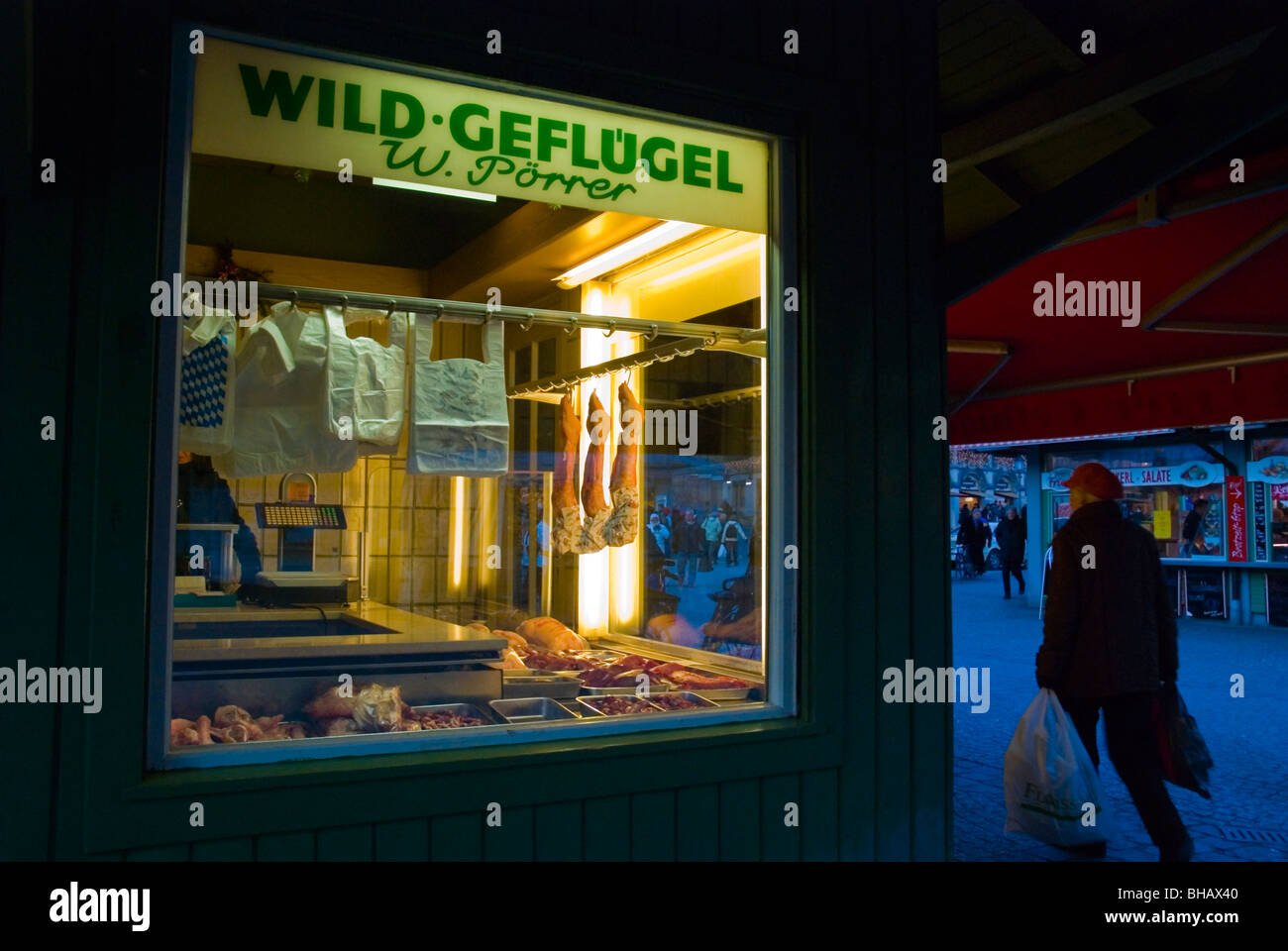 Poultry shop Viktualienmarkt market square old town Munich Bavaria Germany Europe - Stock Image