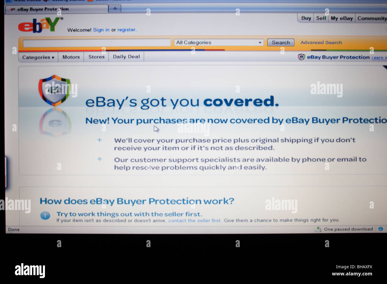 Ebay Screenshot Showing The Buyer Protection Program That Helps Stock Photo Alamy