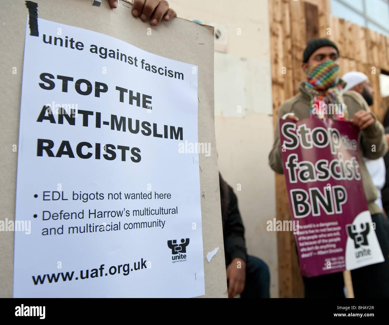 UAF (United against fascism) poster against racism - Stock Image