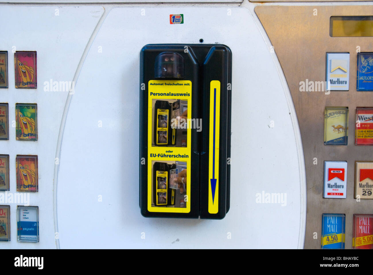 ID card reader in cigarette machine Schwabing Munich Bavaria Germany Europe - Stock Image