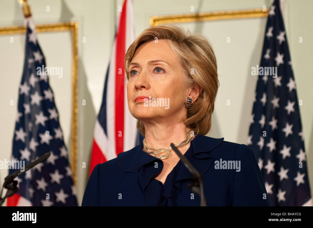 U.S. Secretary Of State Hillary Clinton speaks at a press conference Stock Photo