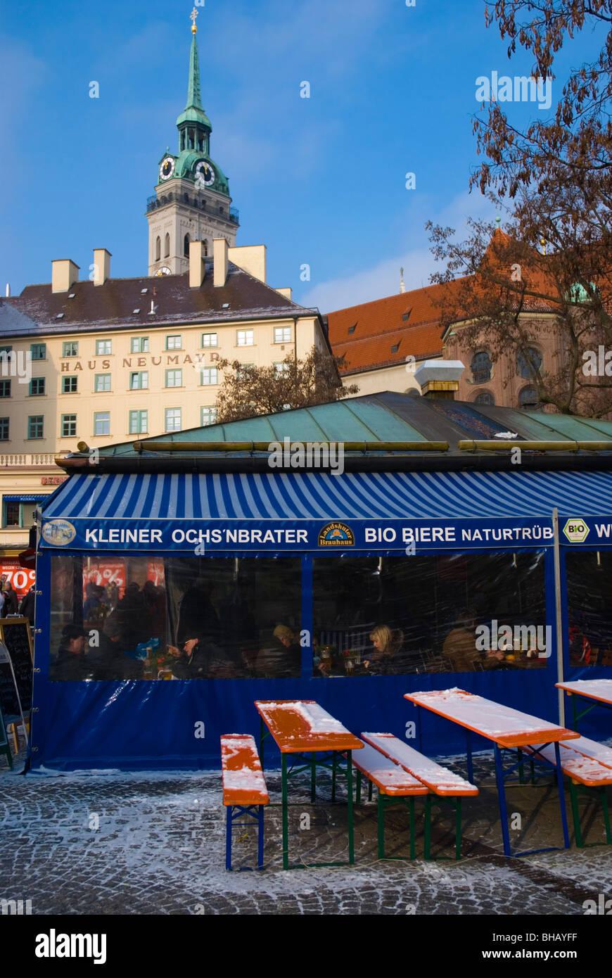 Viktualienmarkt square old town Munich Bavaria Germany Europe - Stock Image