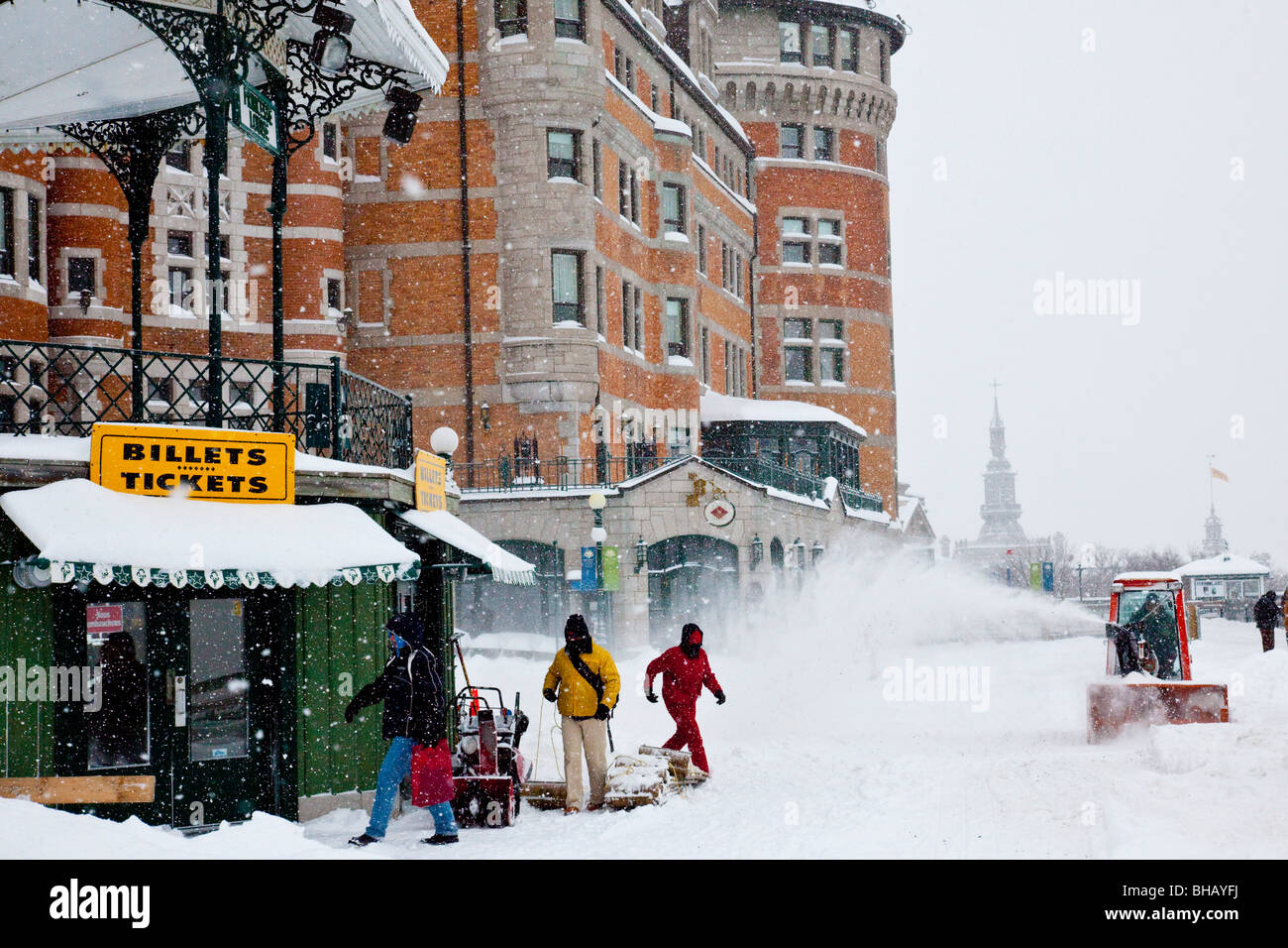 Snowing at the Chateau Frontenac in Old Quebec City - Stock Image