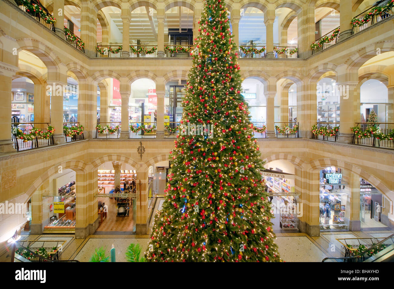 amsterdam indoor shopping mall magna plaza with christmas tree stock image - Mall Of America Christmas Decorations