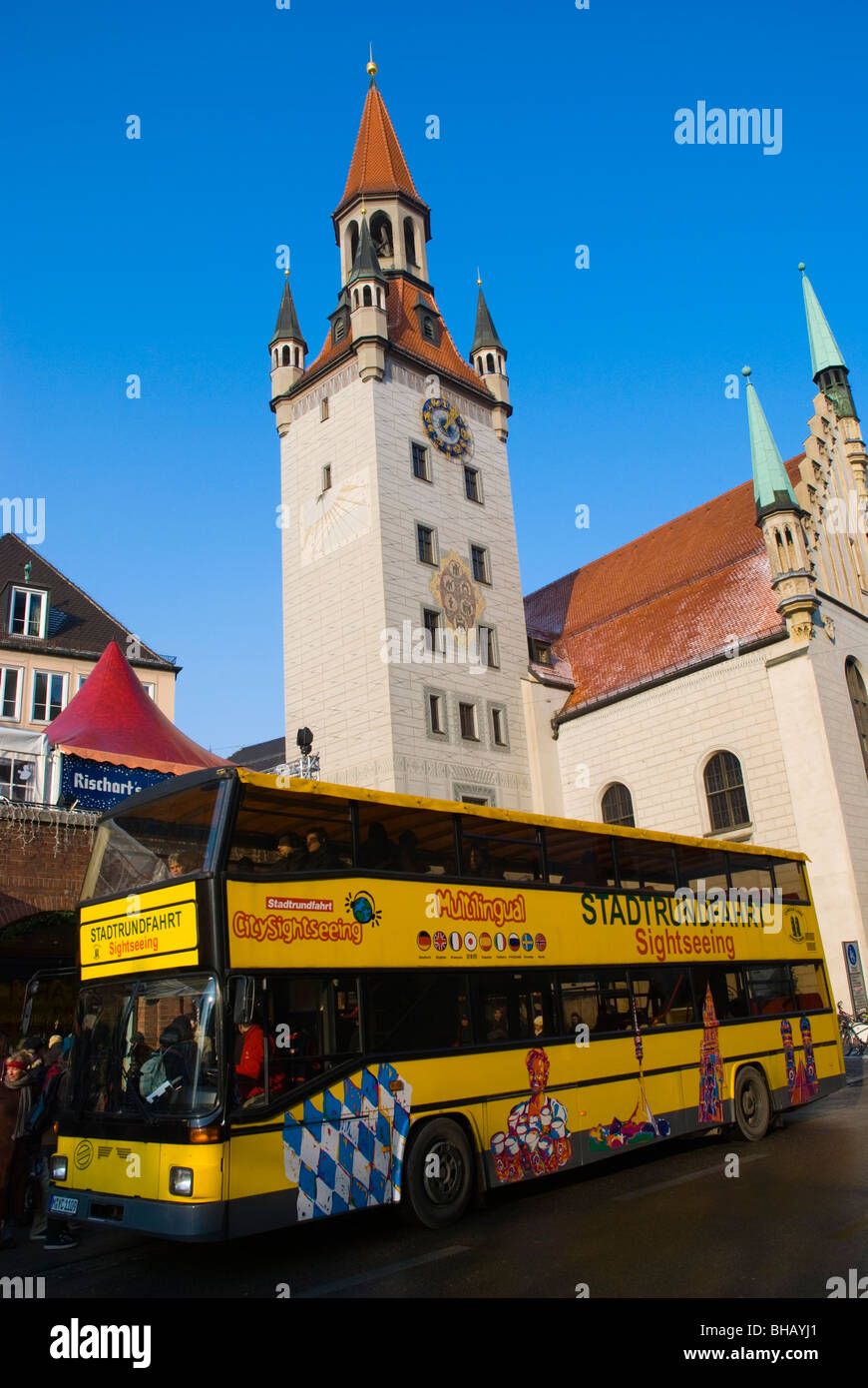 Sightseeing bus Viktualienmarkt square old town Munich Bavaria Germany Europe - Stock Image