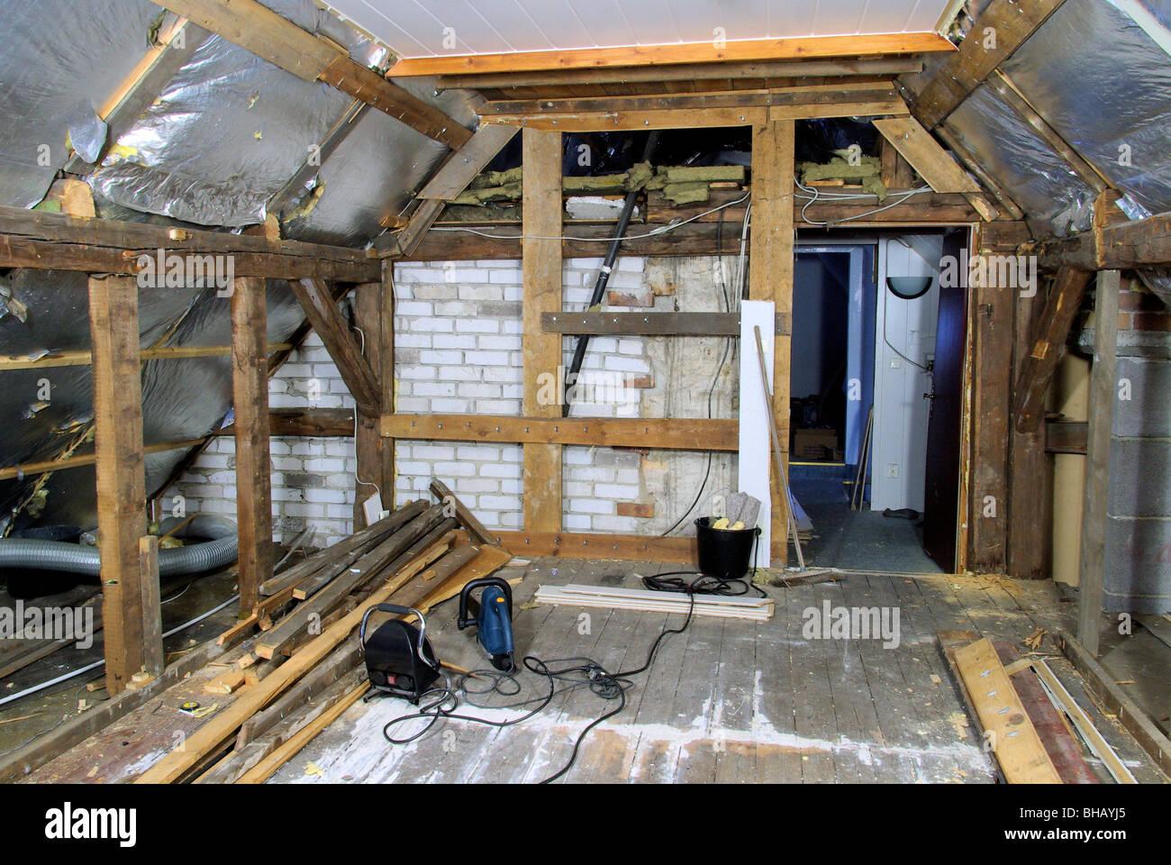dachstuhl ausbauen - roof truss reconstruct 01 stock photo: 27900717