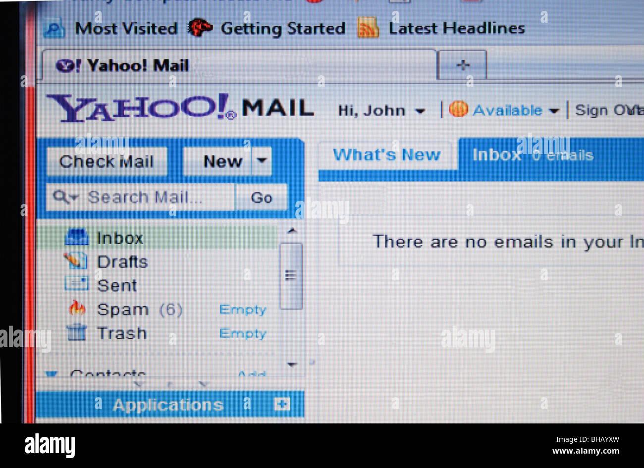 Yahoo email account screen shot - Stock Image