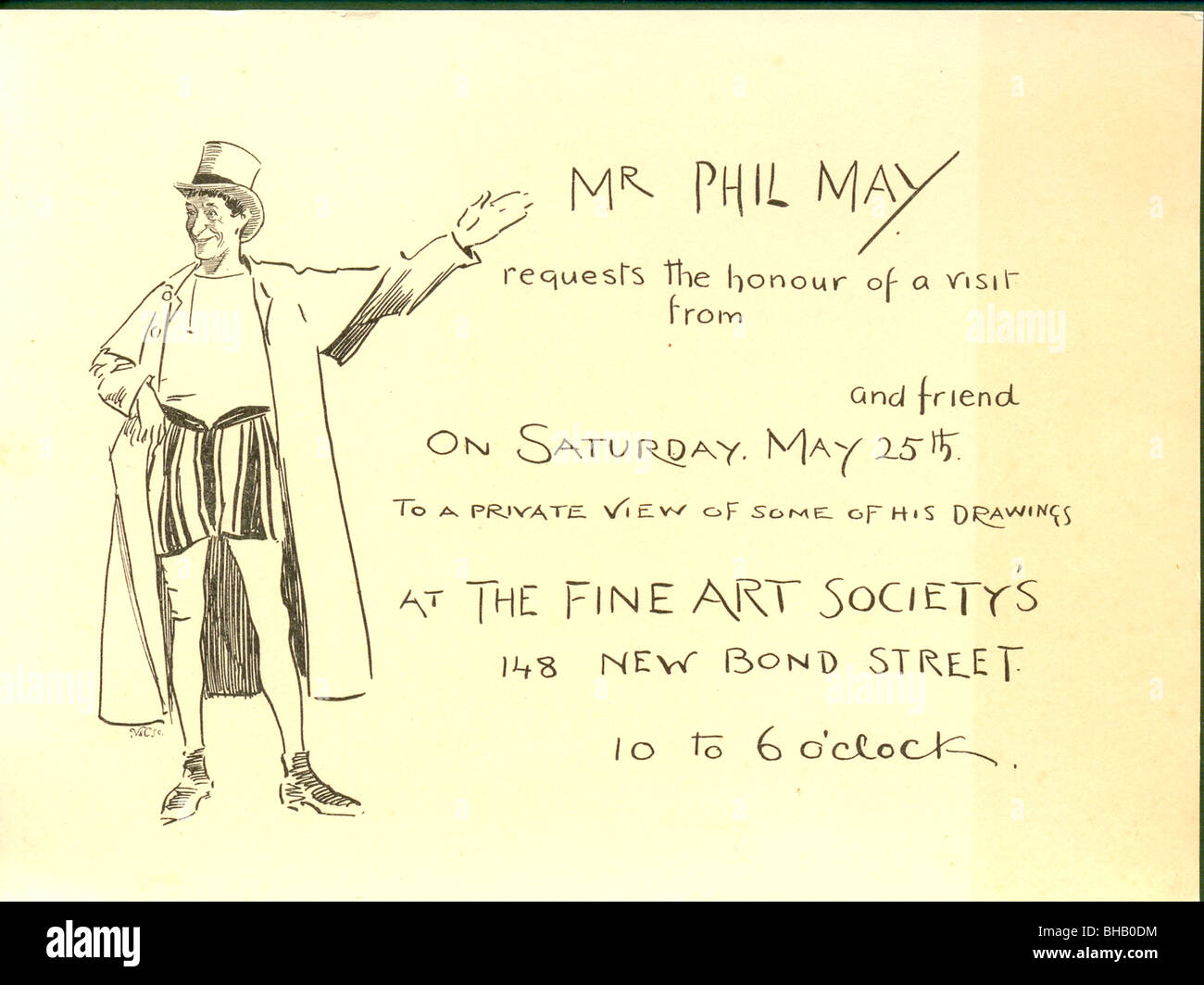 Invitation from Phil May to his first exhibition at The Fine Art Society, - Stock Image