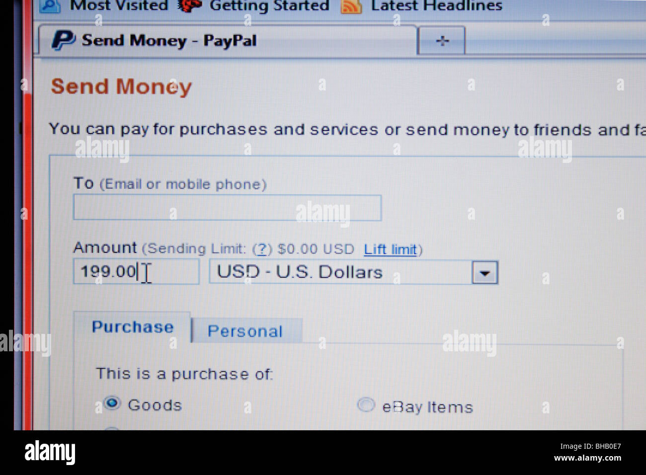 Paypal web page to send money from account Stock Photo
