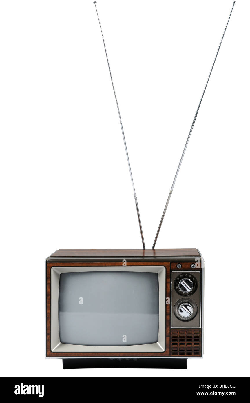 Vintage television with antenna isolated over white background - Stock Image