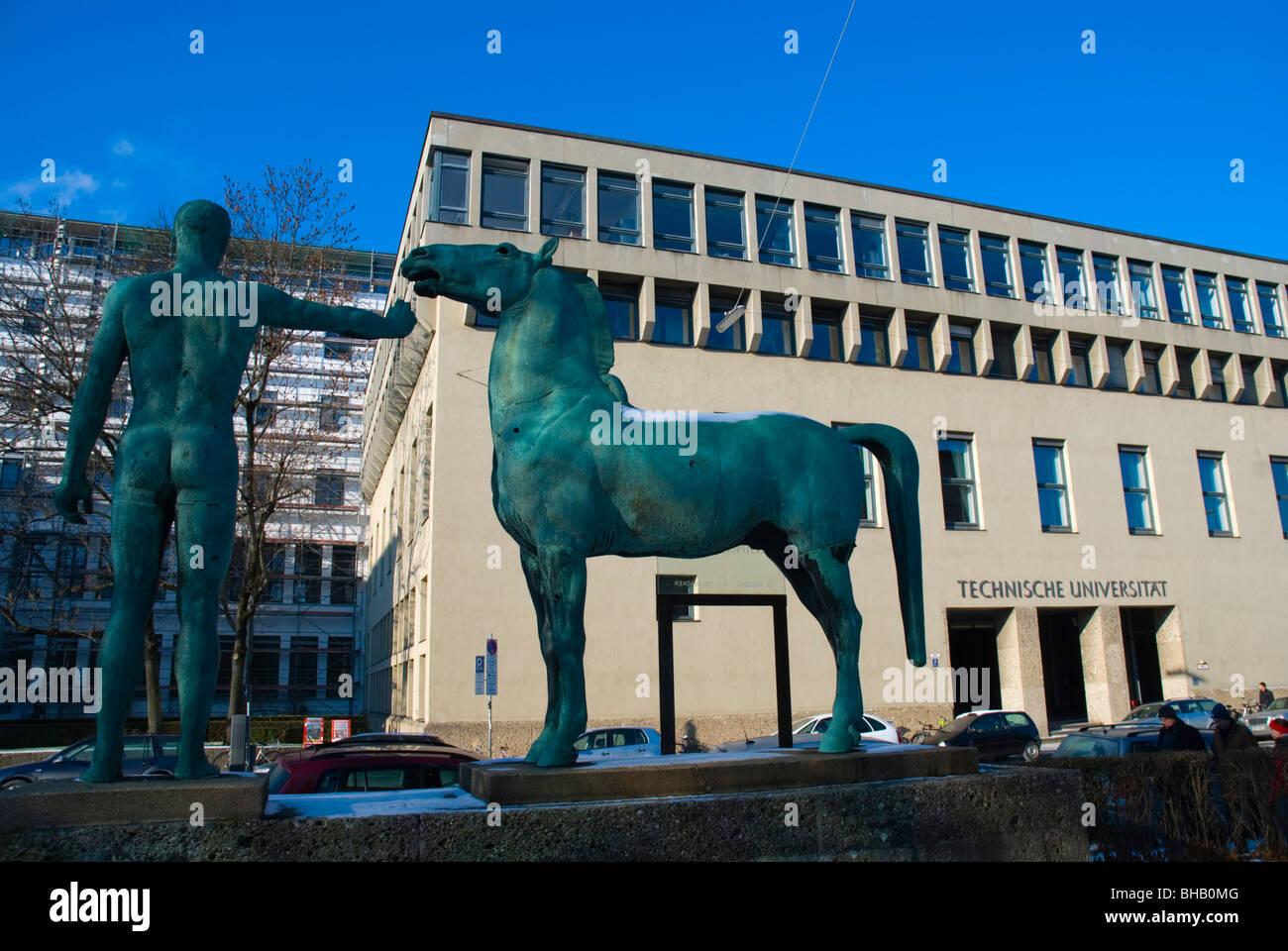 Wunden der Erinnerung Statue in front of Technical University Schwabing Munich Bavaria Germany Europe - Stock Image