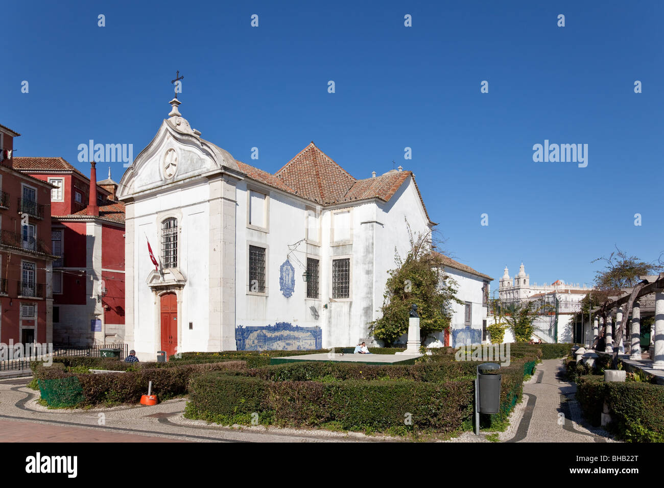 Santa Luzia Church and Miradouro de Santa Luzia (belvedere / terrace) in Alfama. Lisbon, Portugal. Stock Photo