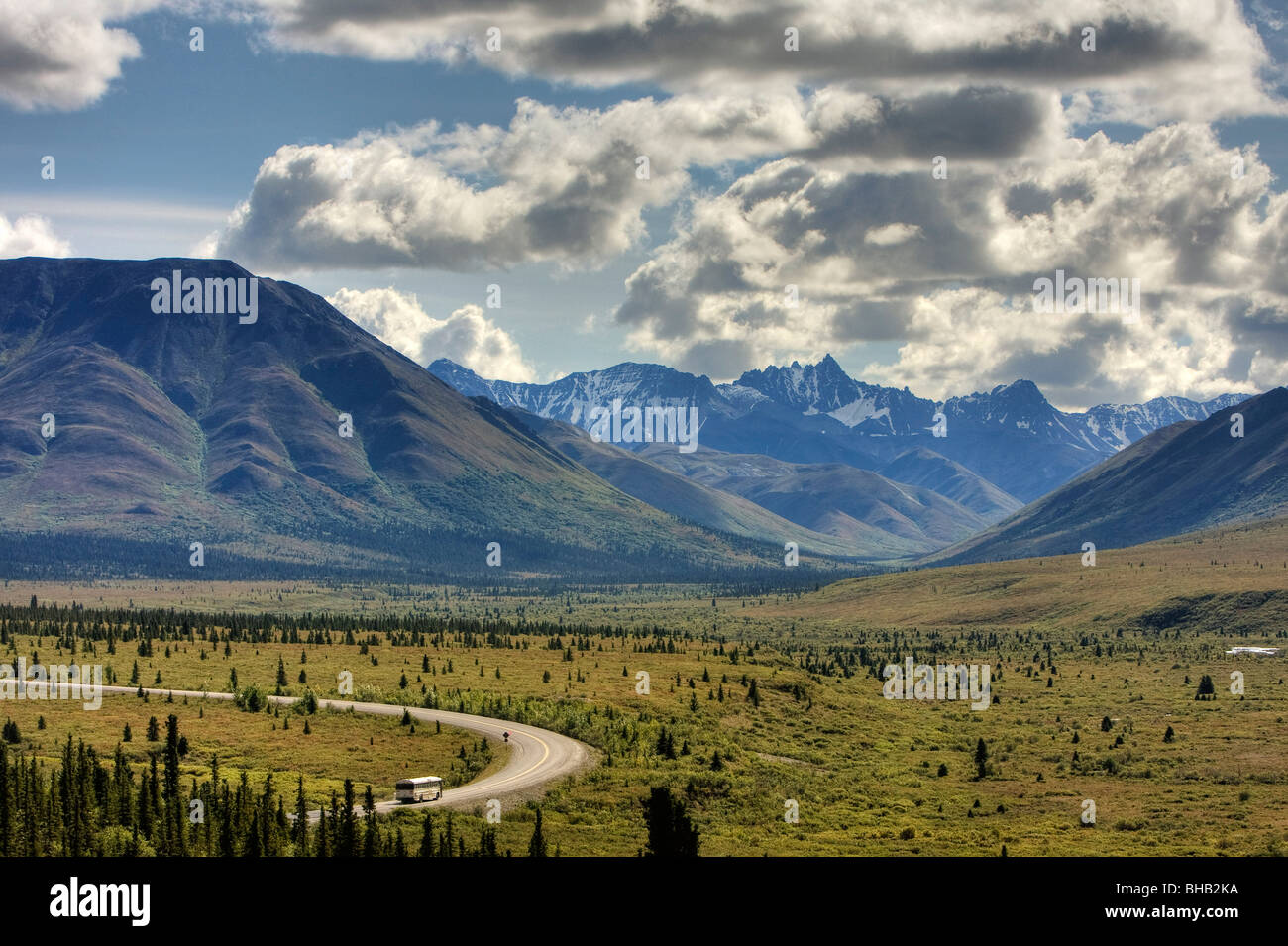 View of the park road and the before Savage River Denali National Park Interior Alaska Summer HDR image - Stock Image