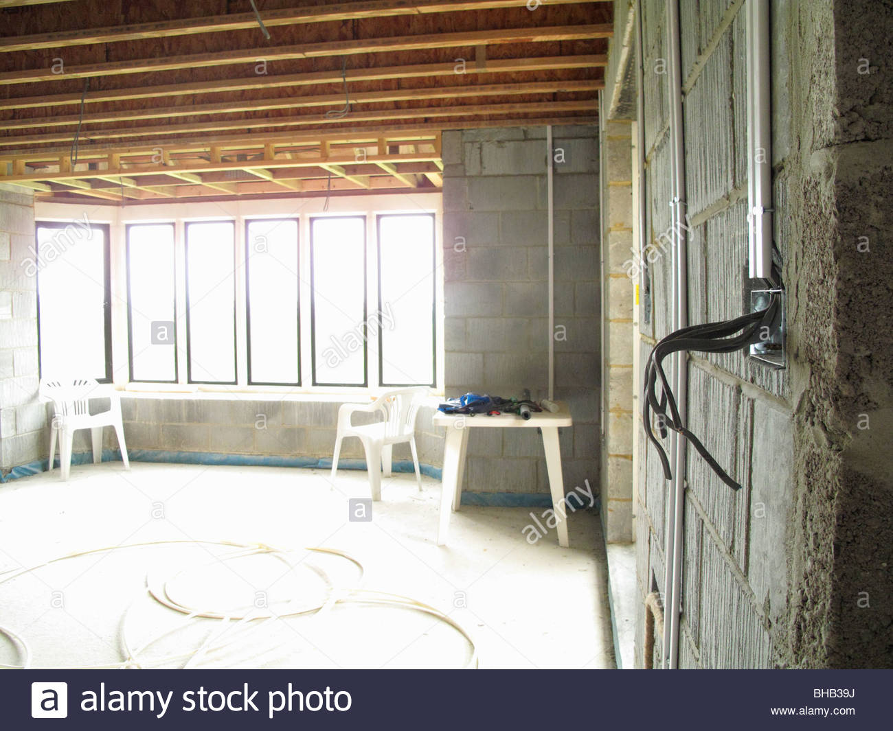 Exposed Wires Stock Photos Images Alamy Wiring A House Electrical In Under Construction Image