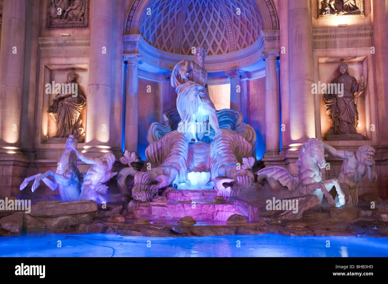 Replica of the Italian Trevi Fountain (Fontana di Trevi), Caesars Palace Hotel & Casino, Las Vegas, Nevada, - Stock Image