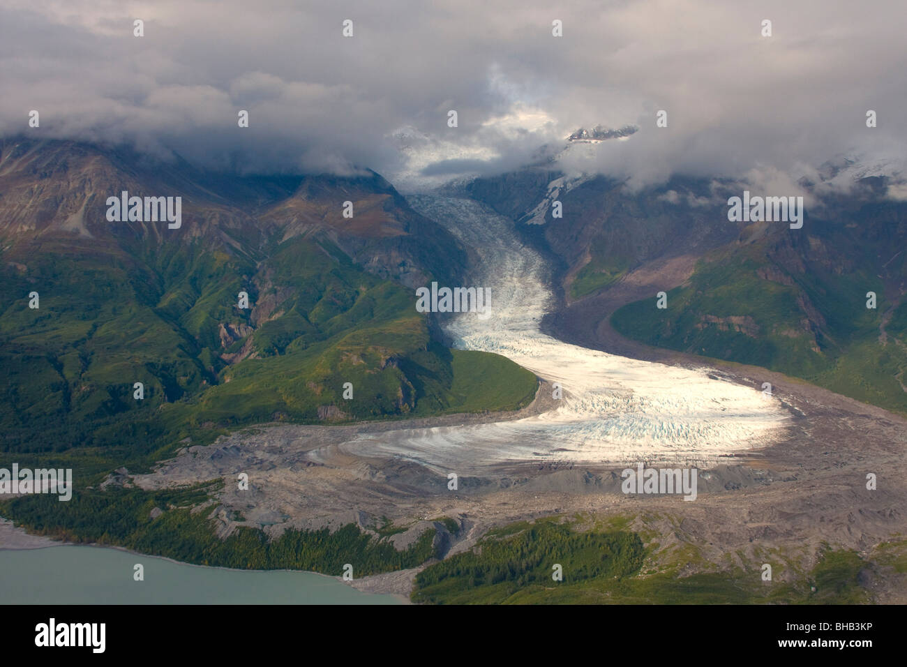 View of Barrier Glacier entering into the east side of Chakachamna Lake, Alaska Range, HDR image - Stock Image