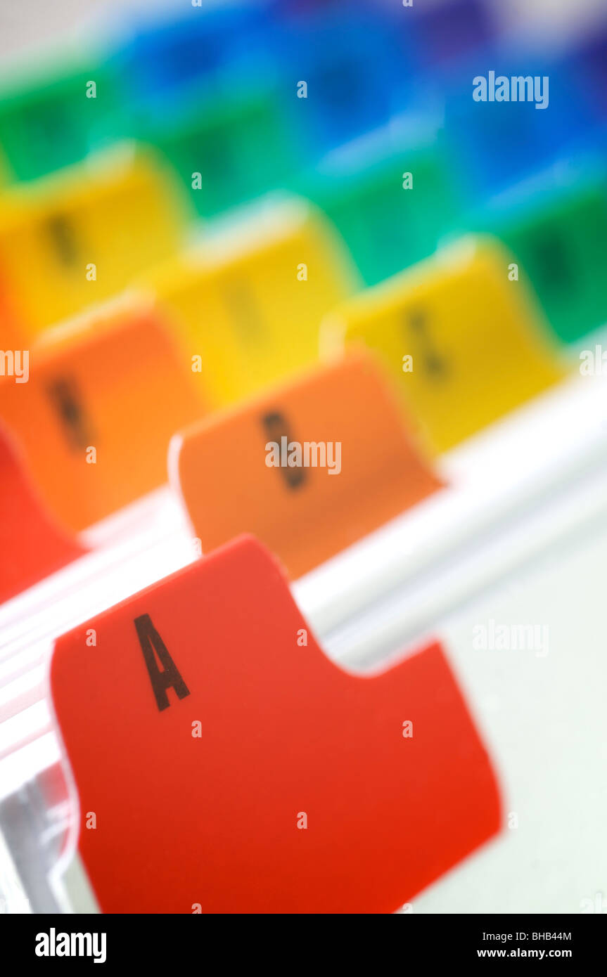 Card index file close up - Stock Image