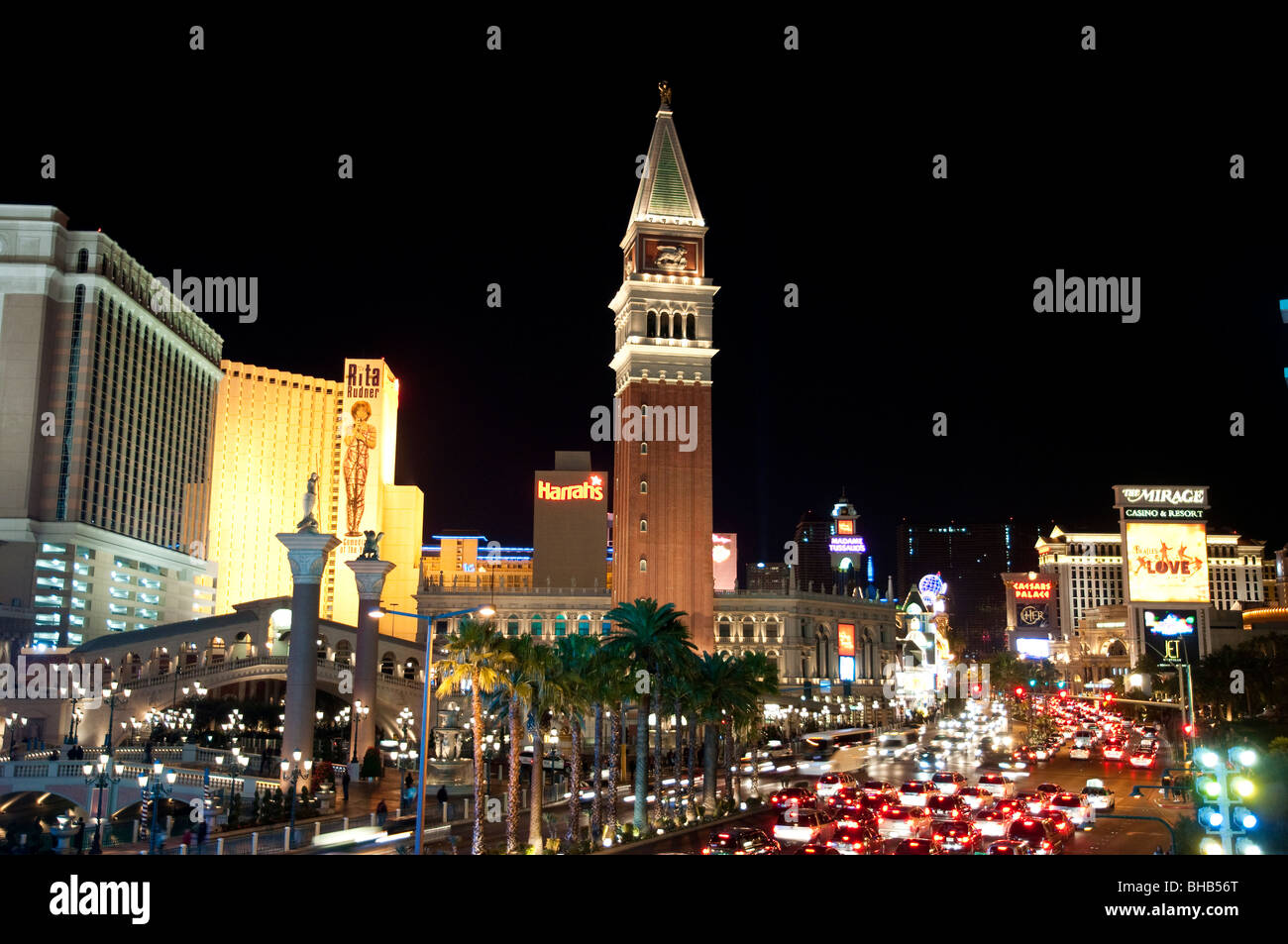 Bell tower copy of the Campanile di San Marco, Venetian Hotel & Casino, Las Vegas, Nevada, USA - Stock Image