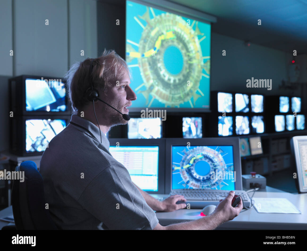 Fusion Reactor Scientist At Work - Stock Image