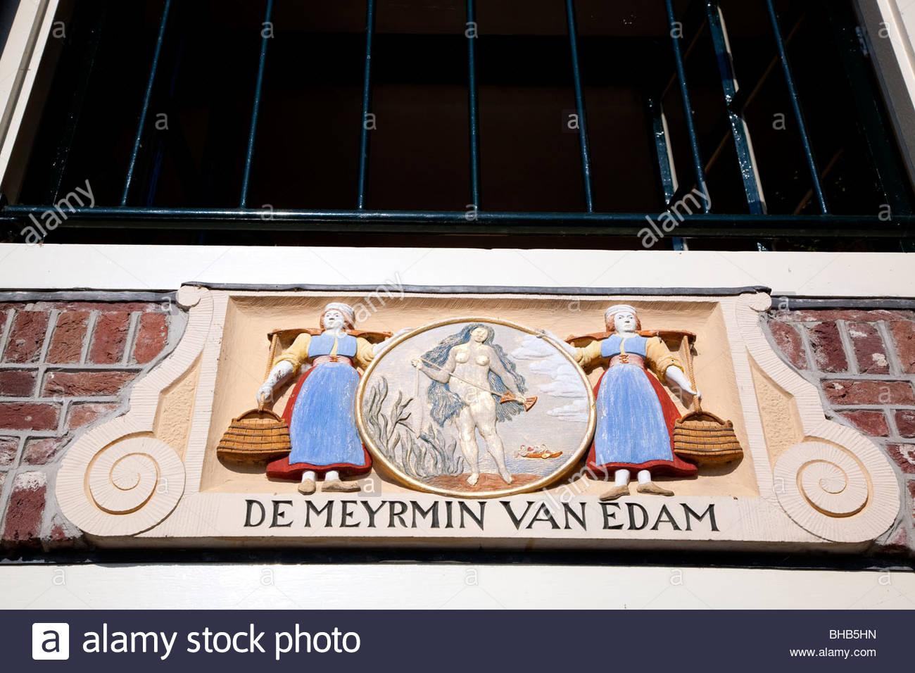Benelux Cheese Market cultural Dutch Edam Europe Holland Nederland sign De Meyrmin van Edam The Netherlands town - Stock Image