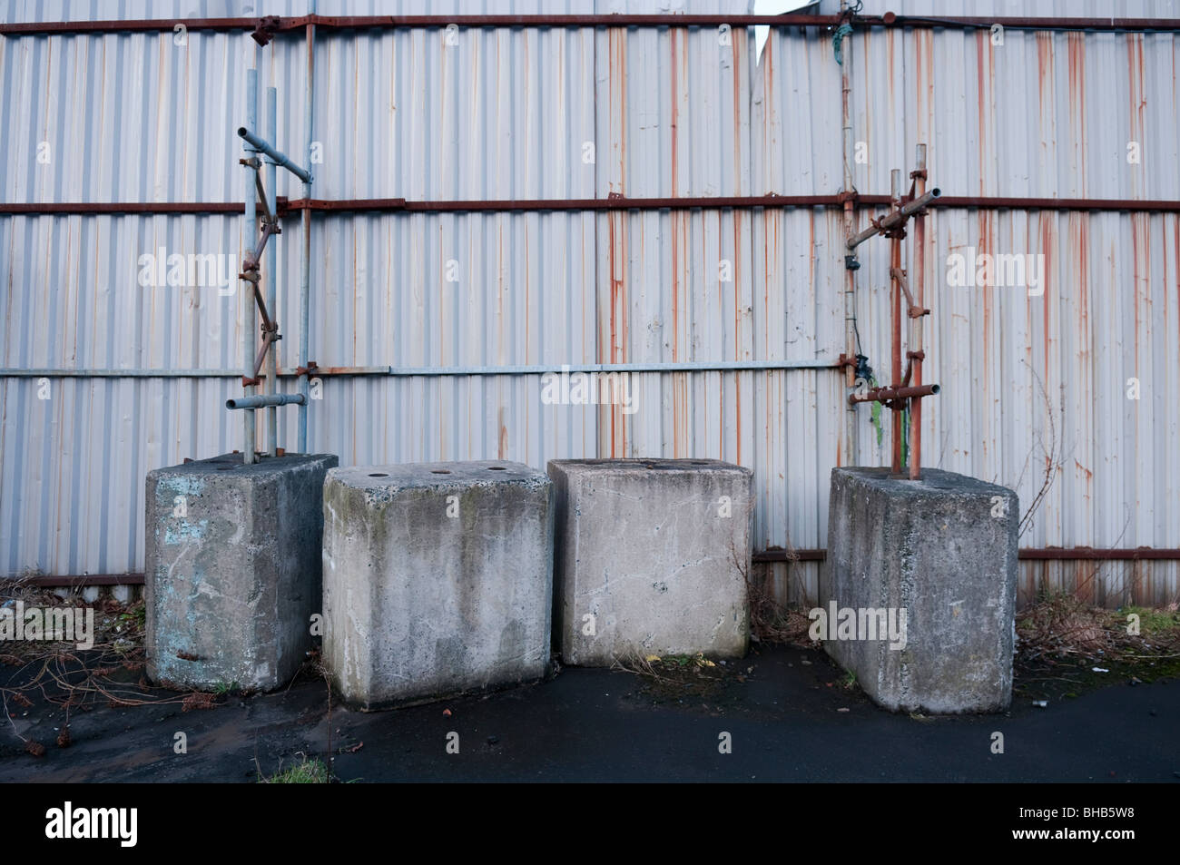 Universal Concrete Blocks (UCBs) at a security barrier in Belfast - Stock Image