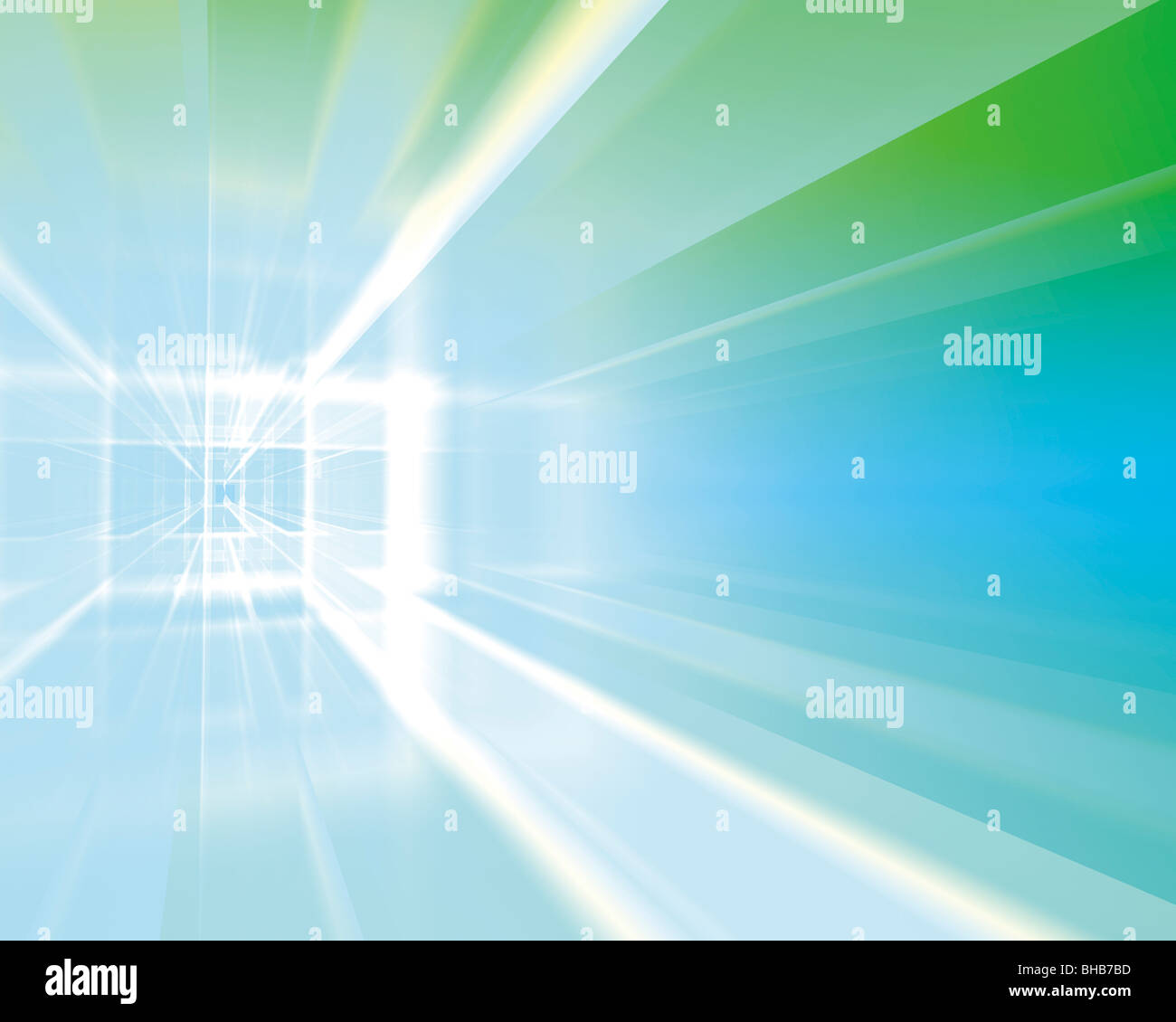 Light beam and abstract patterns (digitally generated) - Stock Image