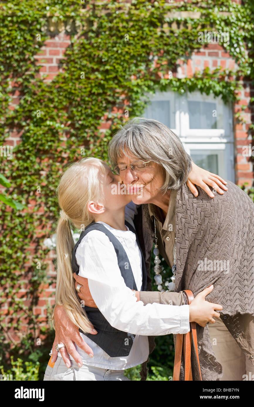 visit of grandmother Stock Photo