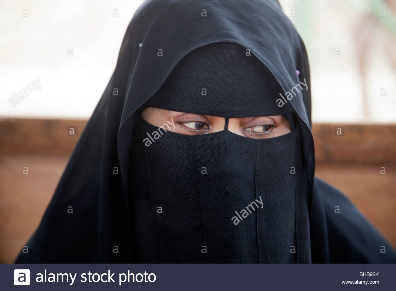 arab arabian Arabian Peninsula Asia burka Dhofar islam; islamic khareef season; wet season monsoon; rainfall Oman - Stock Image