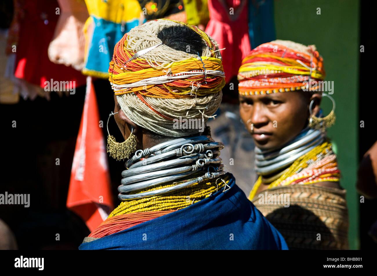 Colorful Bonda women in the local market. - Stock Image