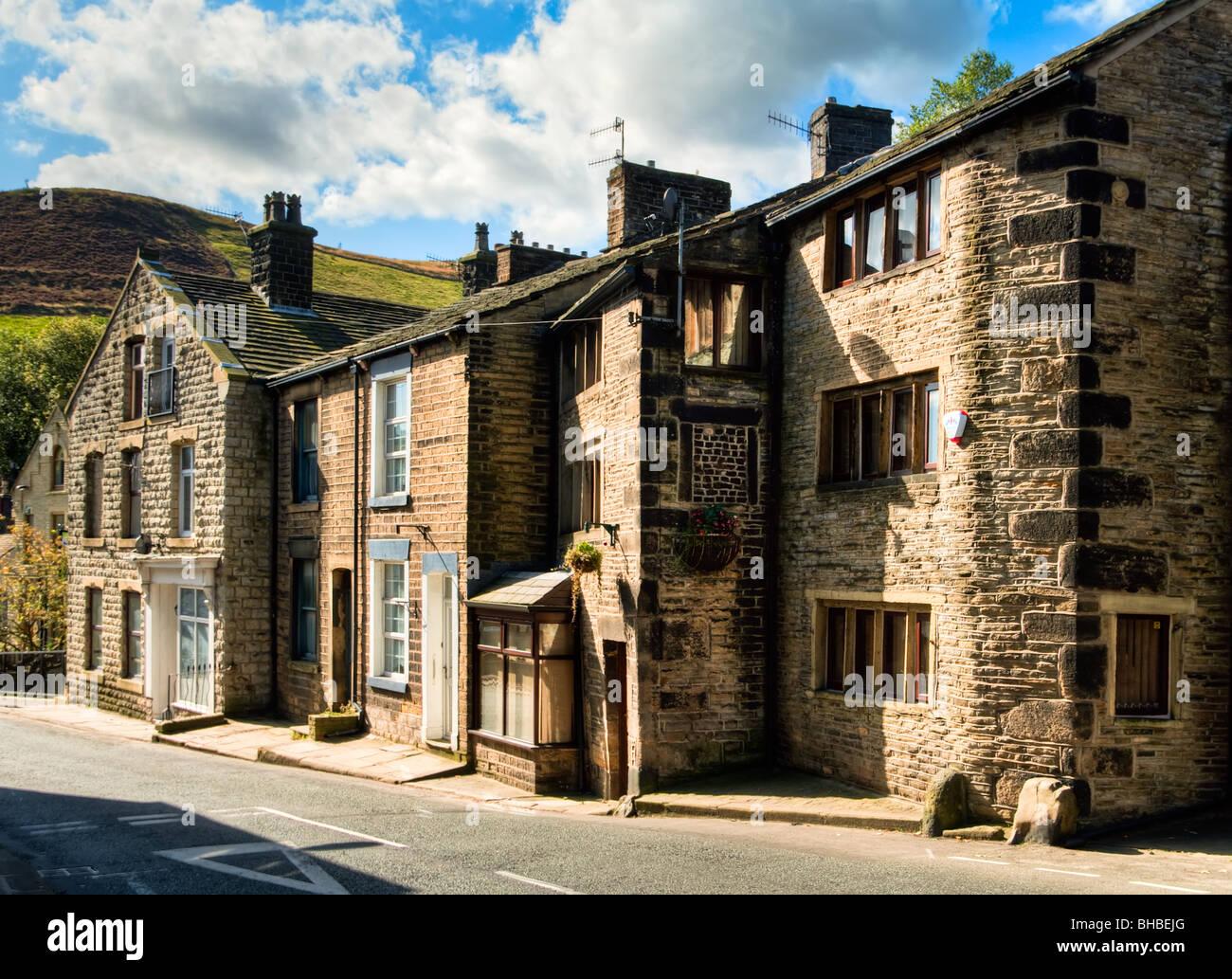 High Street cottages, Delph village, Saddleworth, Oldham - Stock Image