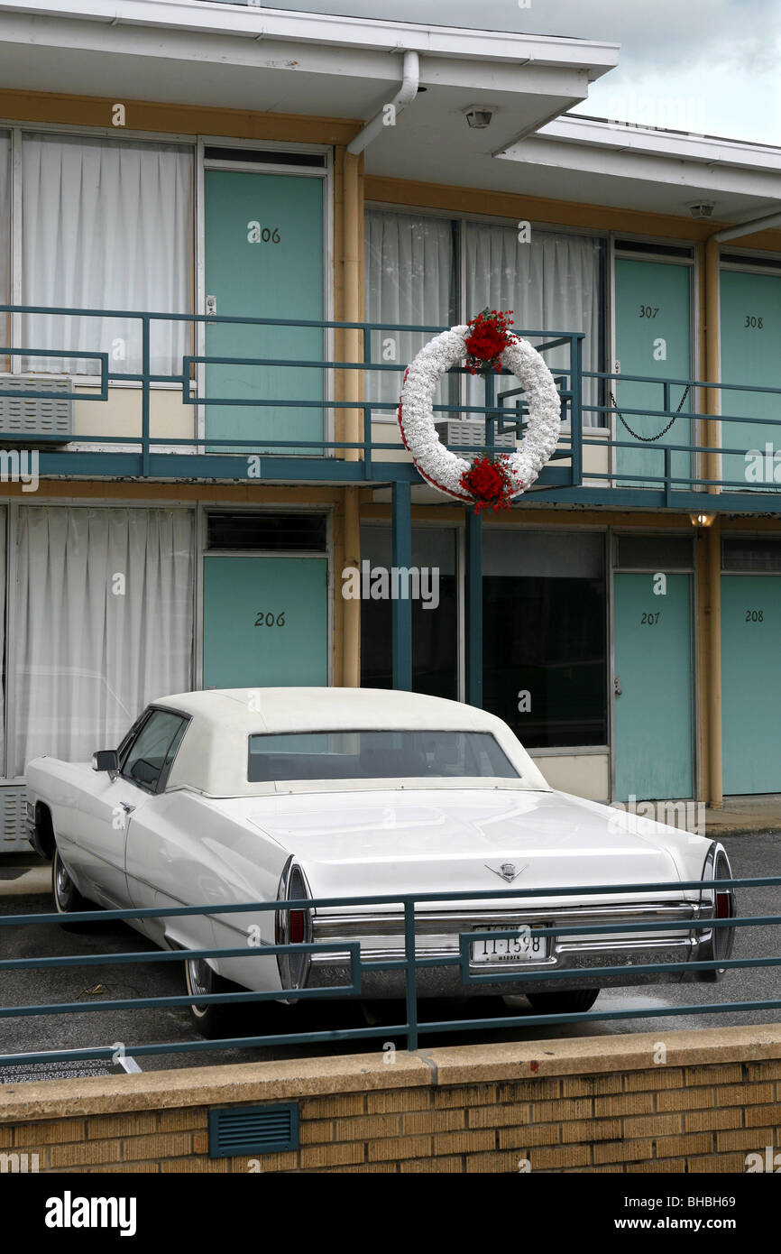 Balcony where Martin Luther King was assassinated, Lorraine Motel, National Civil Rights Museum, Memphis, Tennessee, Stock Photo
